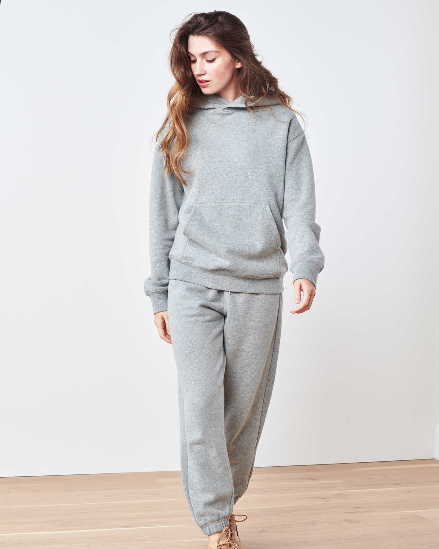 Organic Heavyweight Boyfriend Hoodie - Heather Grey - 4