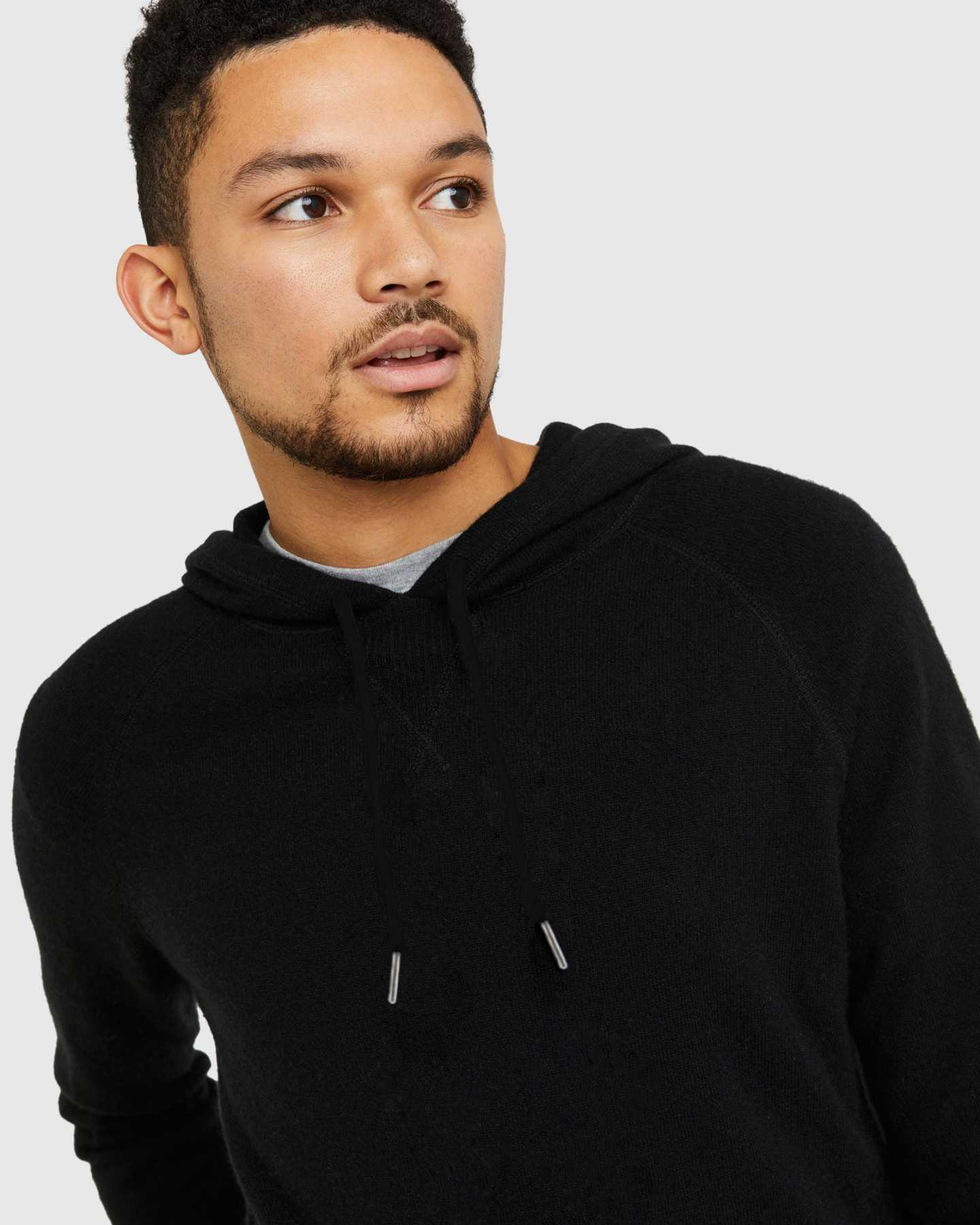 Cashmere hoodie men in black tassle