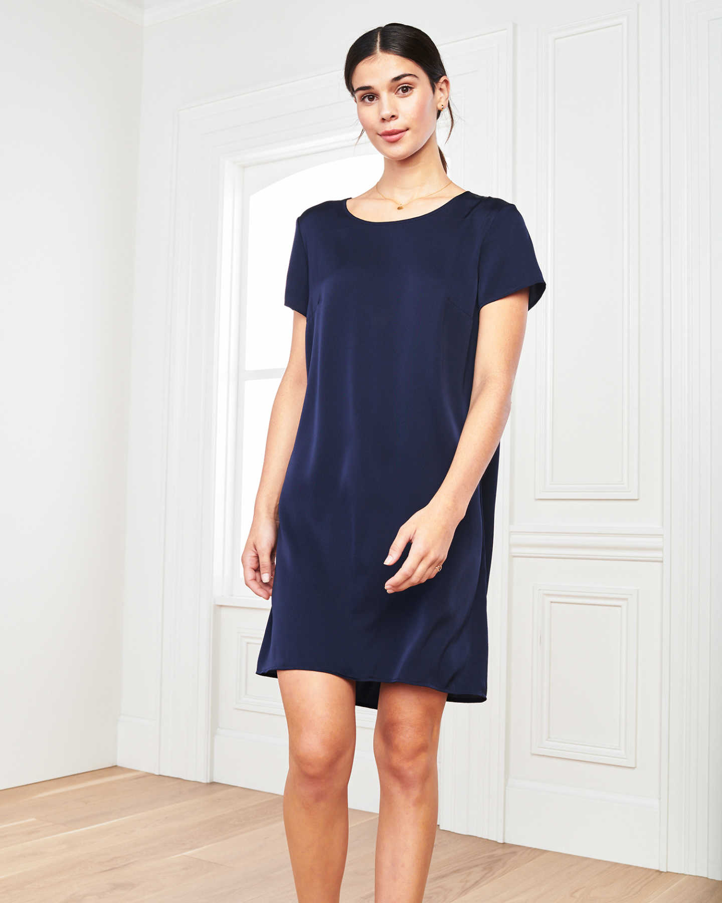 Pair With - Washable Stretch Silk Tee Dress - Navy