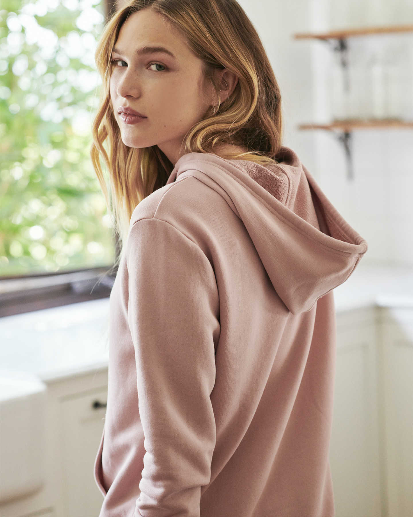 Organic French Terry Hoodie - Dusty Pink - 4