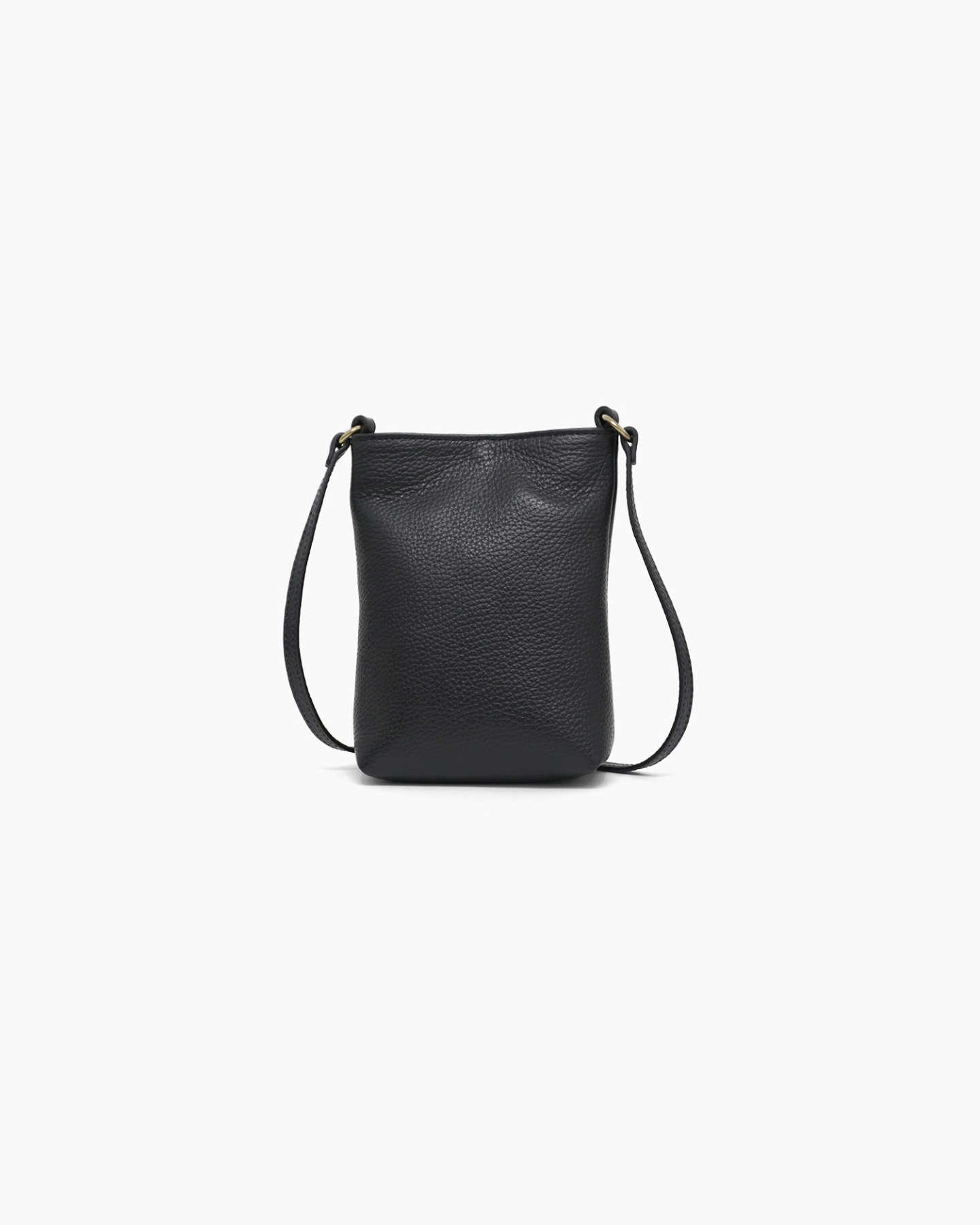 Italian Pebbled Leather Phone Crossbody - Black - 10 - Thumbnail