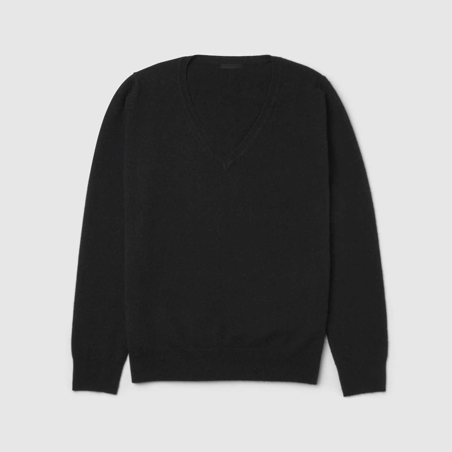 black cashmere v-neck sweater women