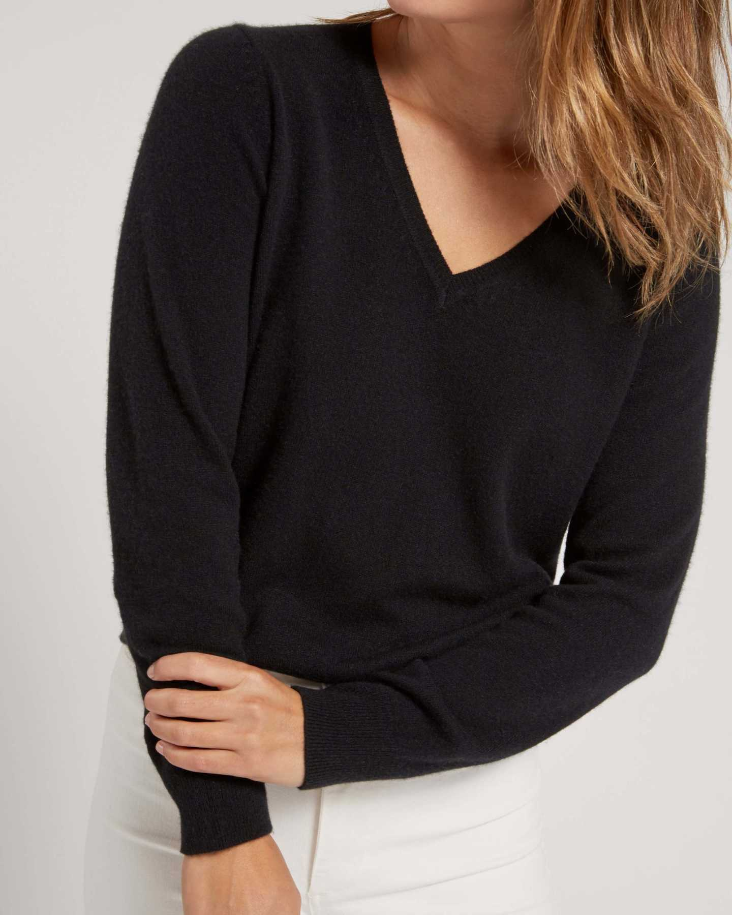 black cashmere v-neck sweater for women from front