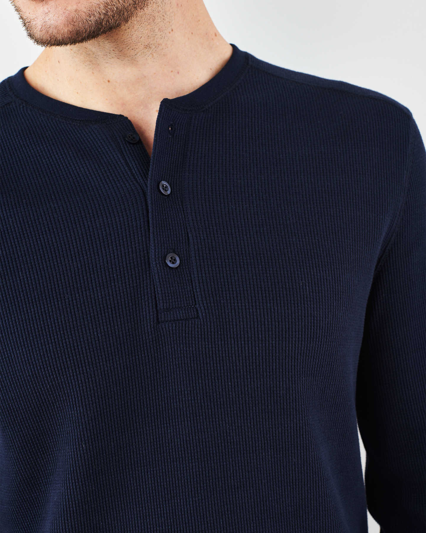 Luxe Organic Waffle Thermal Henley - Navy - 5
