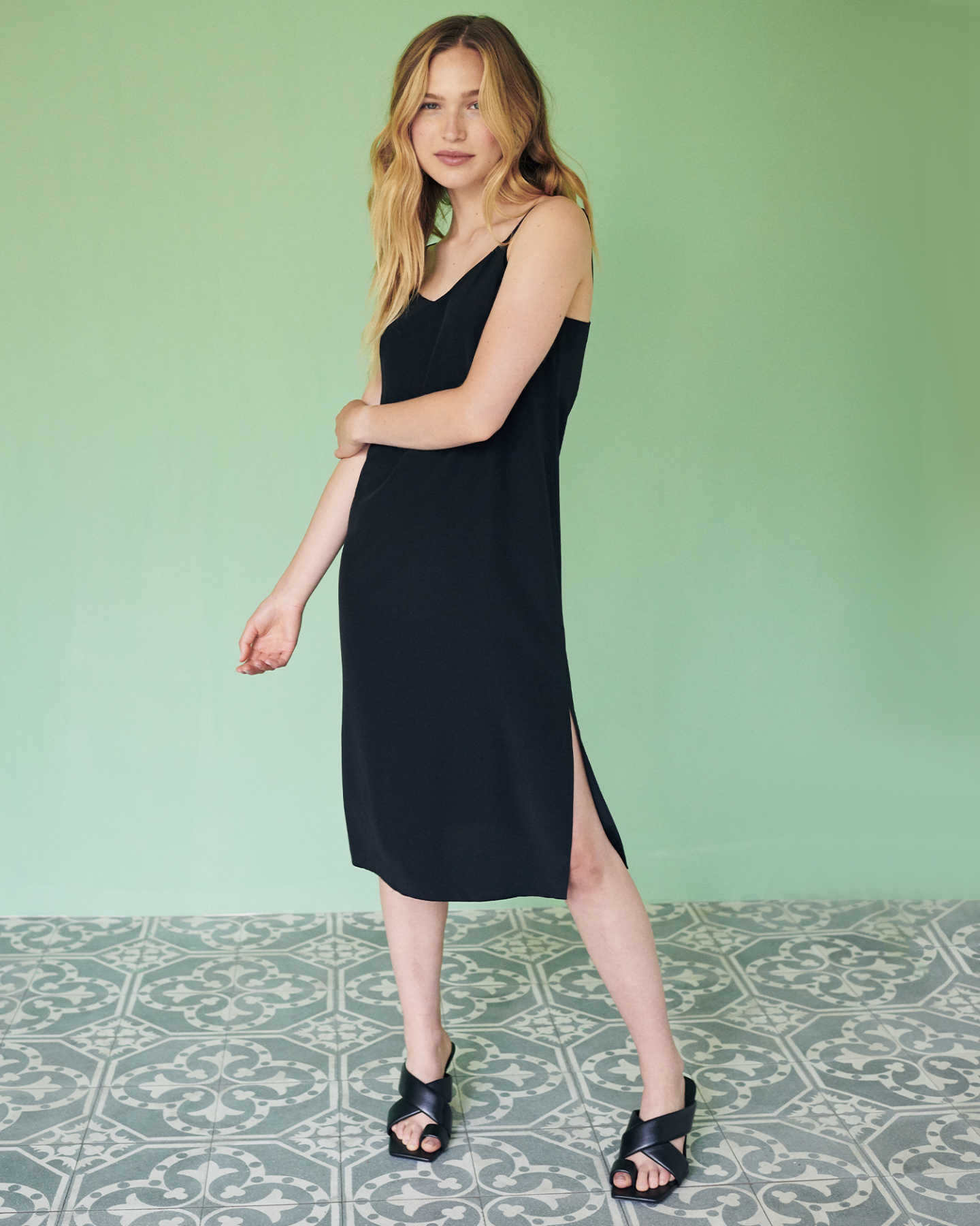 You May Also Like - Washable Stretch Silk Slip Dress - Black