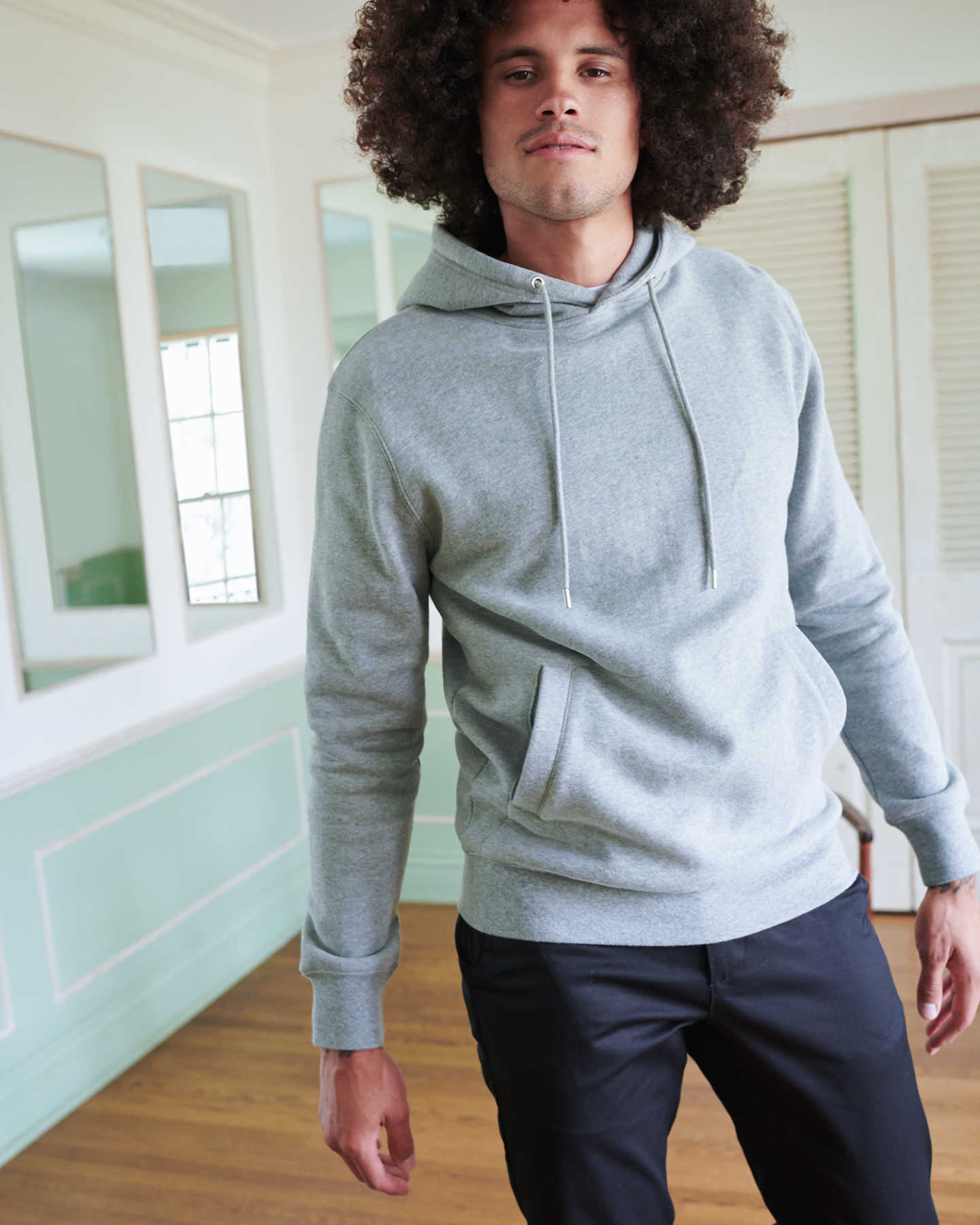 Heavyweight Organic Fleece Hoodie - Heather Grey