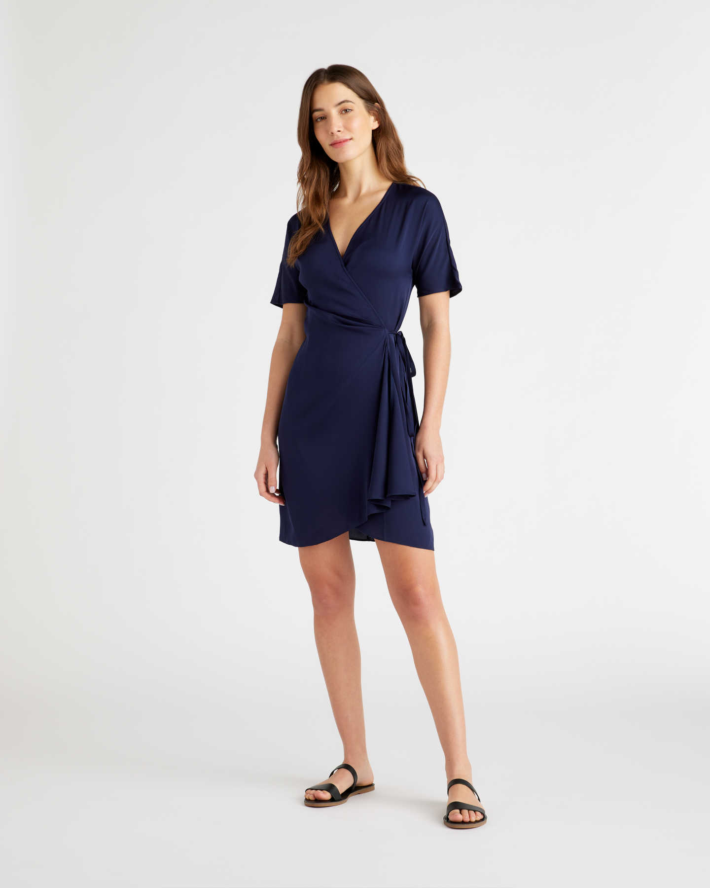 Washable Stretch Silk Wrap Dress - Navy