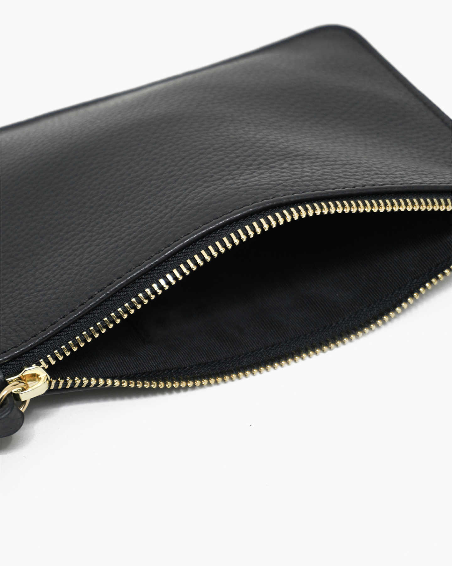 Italian Pebbled Leather Wristlet - Black - 2