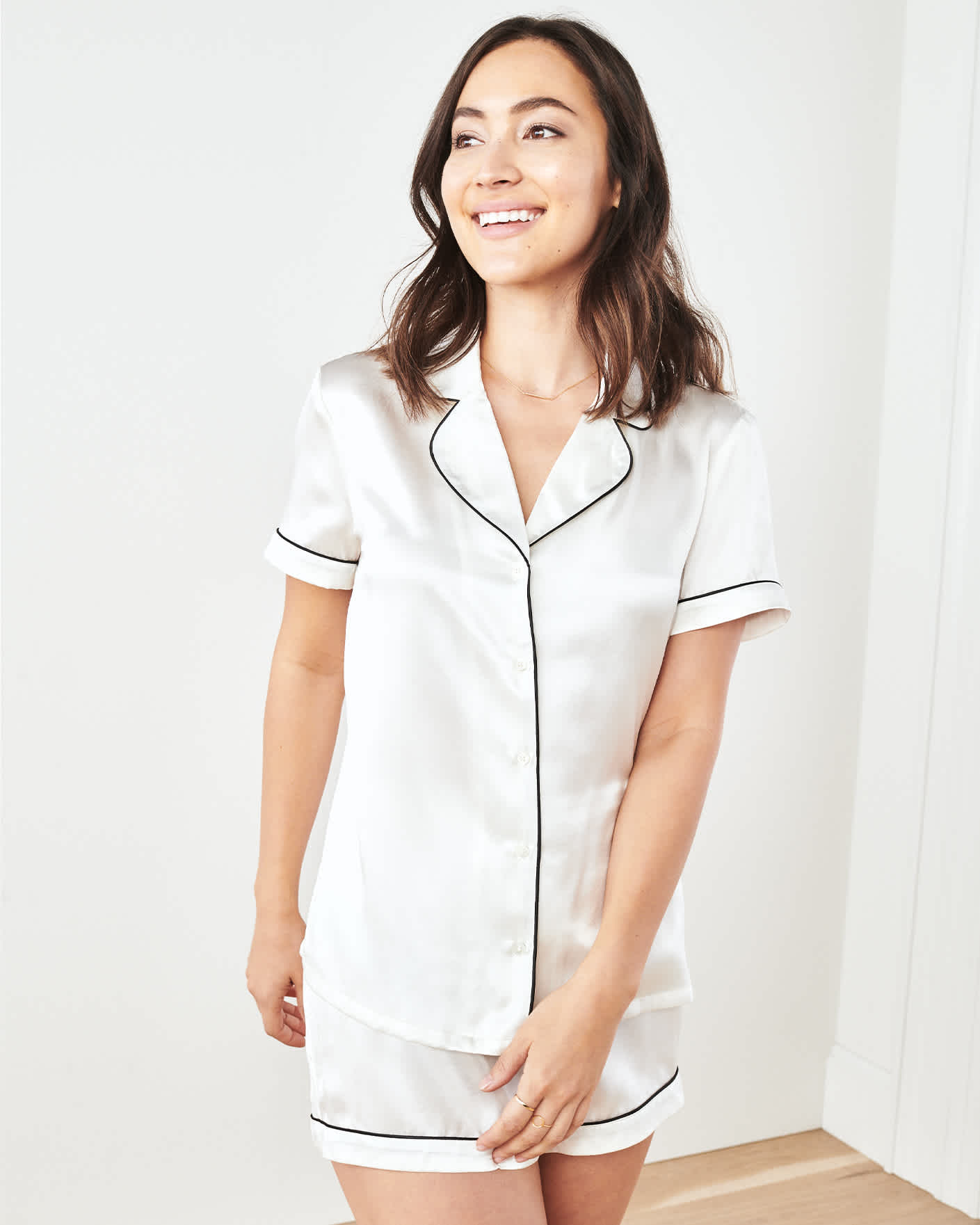 100% Washable Silk Pajama Set with Piping - Ivory