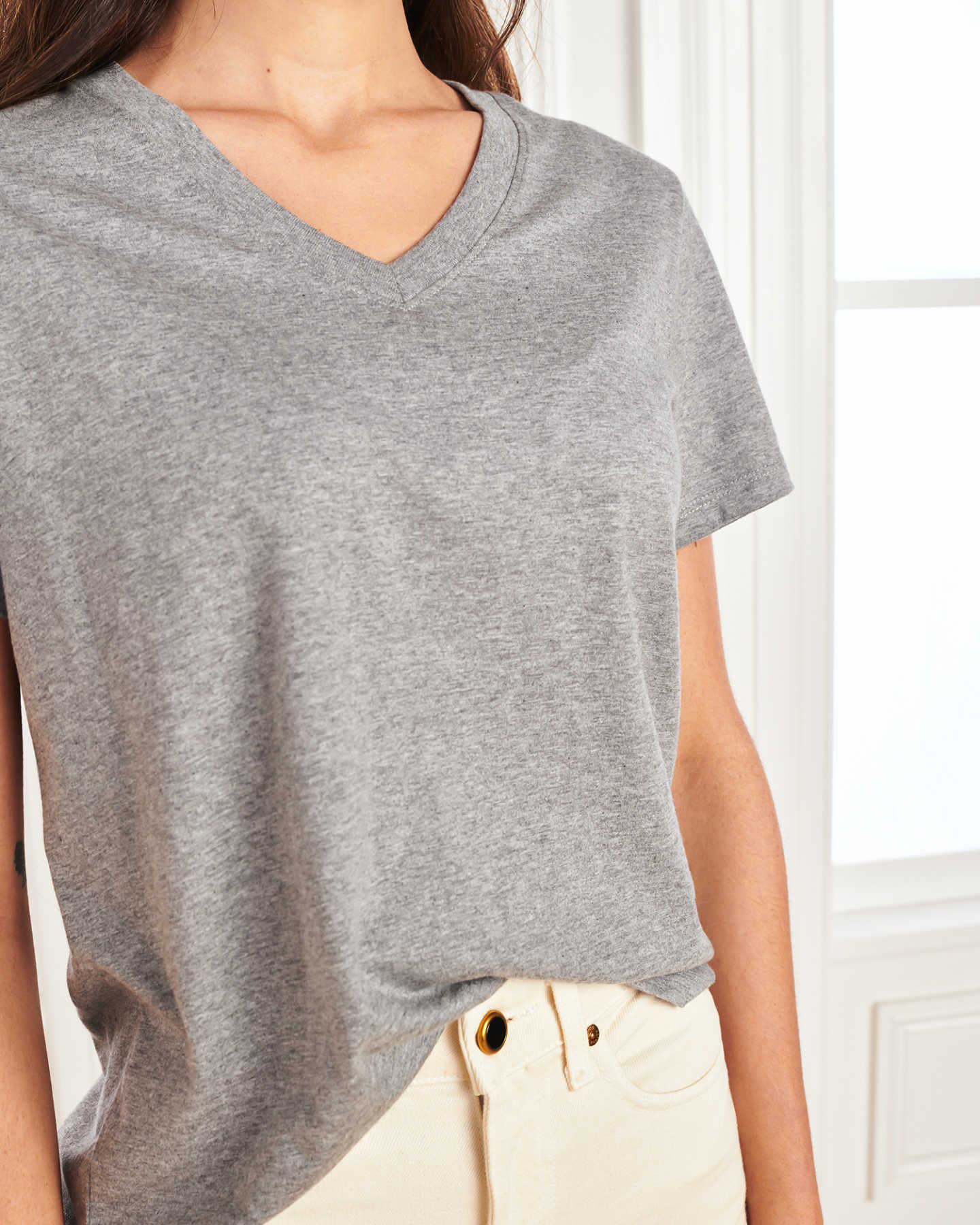 Vintage Wash V Neck Tee - Heather Grey - 5