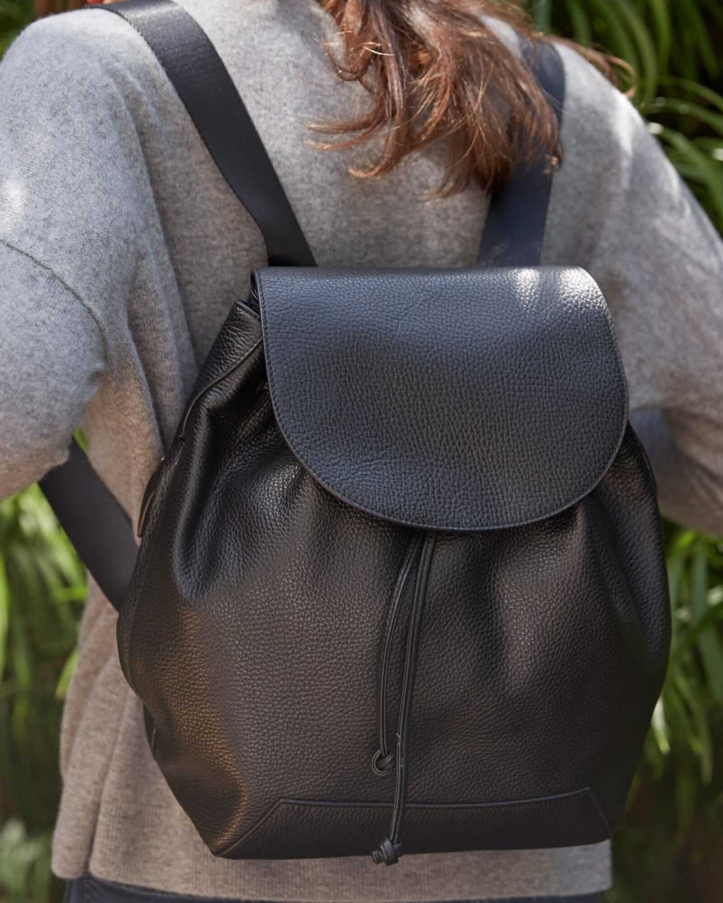 Italian Pebbled Leather Backpack - 12806478463087