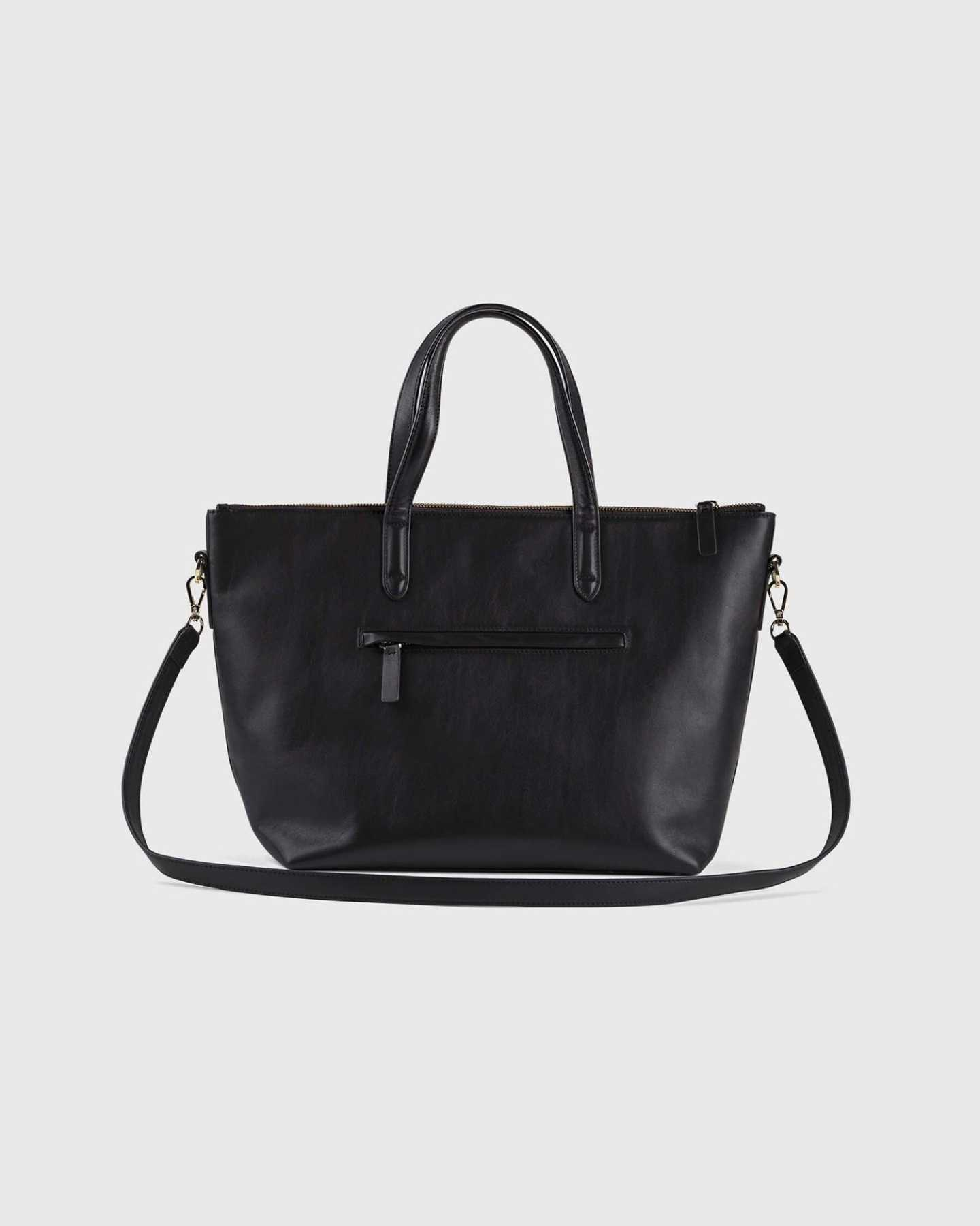 Smooth Leather Traveler Tote - Black