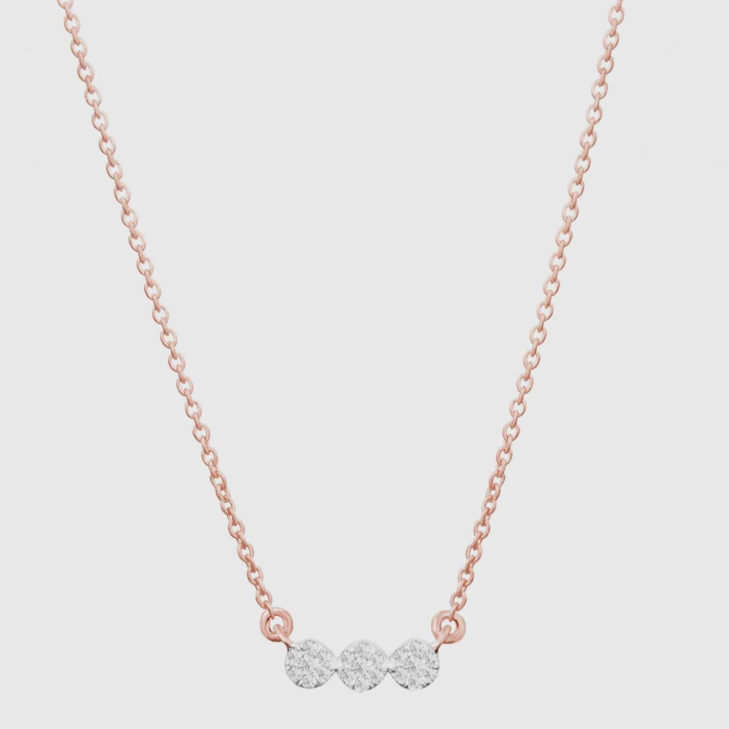 Three Diamond Cluster Necklace - 12759526146159