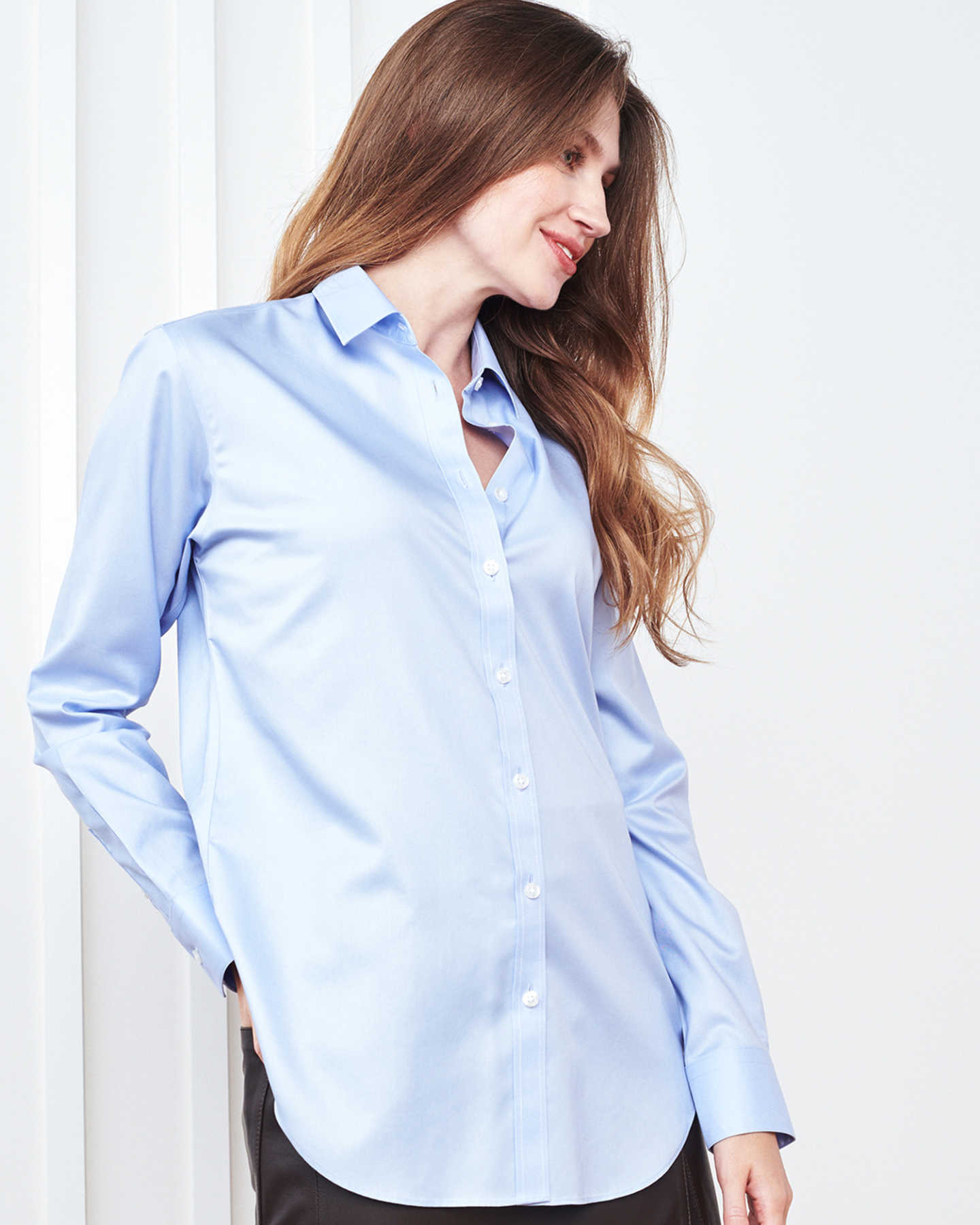 Relaxed Luxe Supima Poplin Shirt (w/ Wrinkleguard™) - Light Blue - 7 - Thumbnail