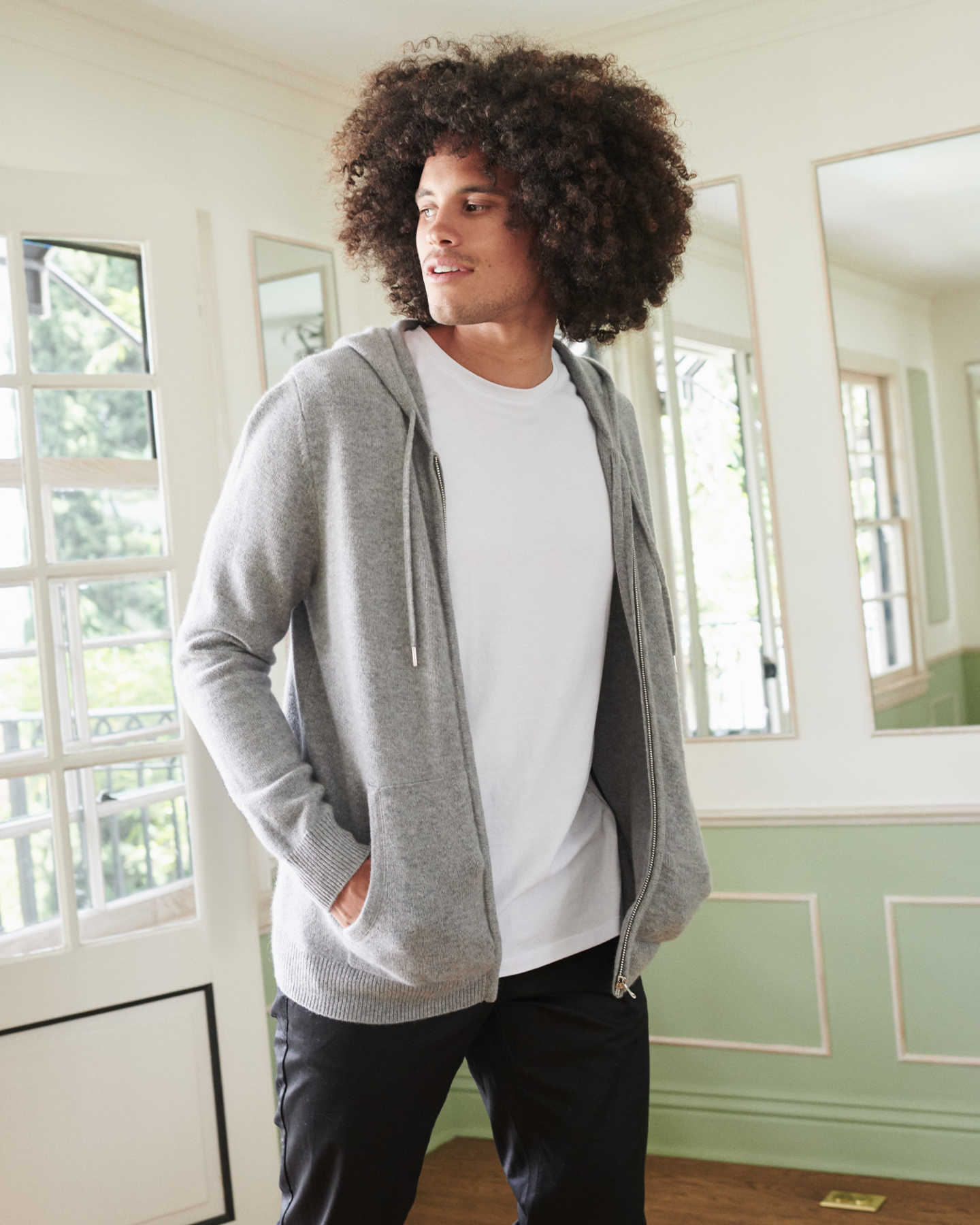 mens cashmere zip hoodie in grey looking right