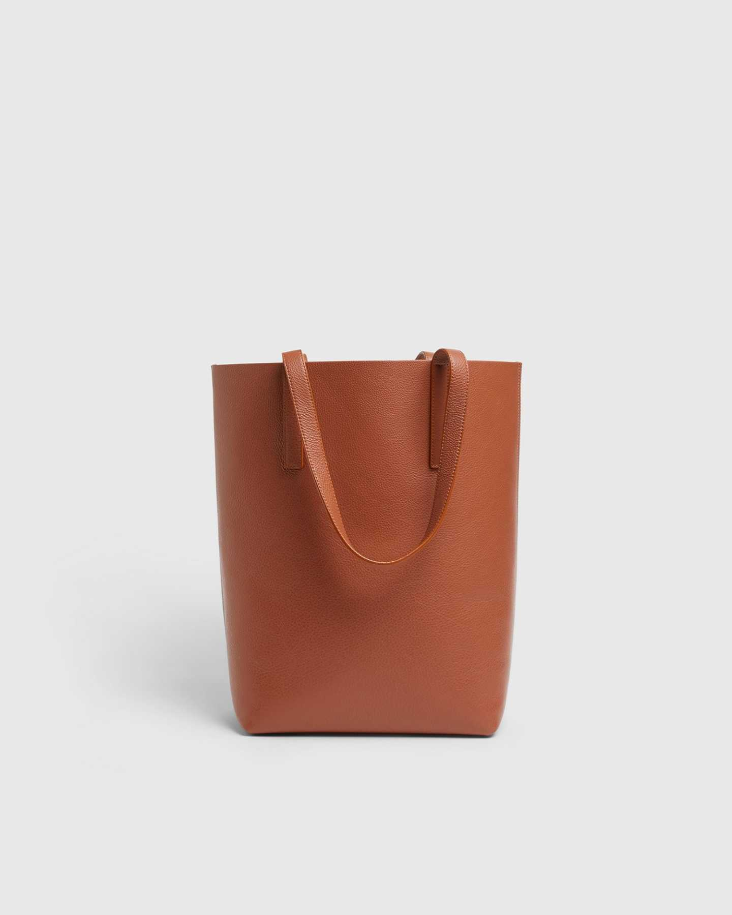 Tall Italian Leather Tote - Cognac - 1