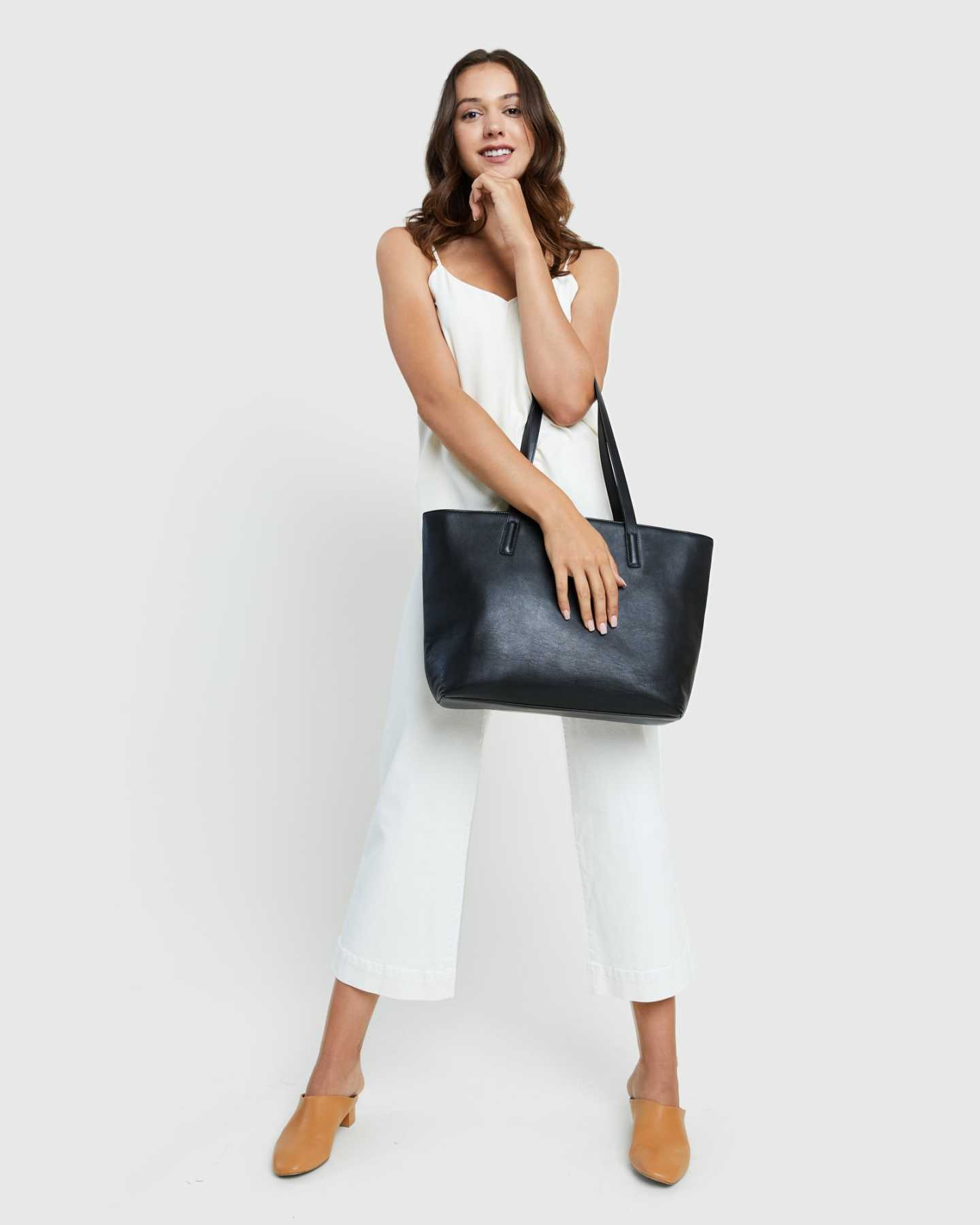 Classic Italian Leather Tote - Black