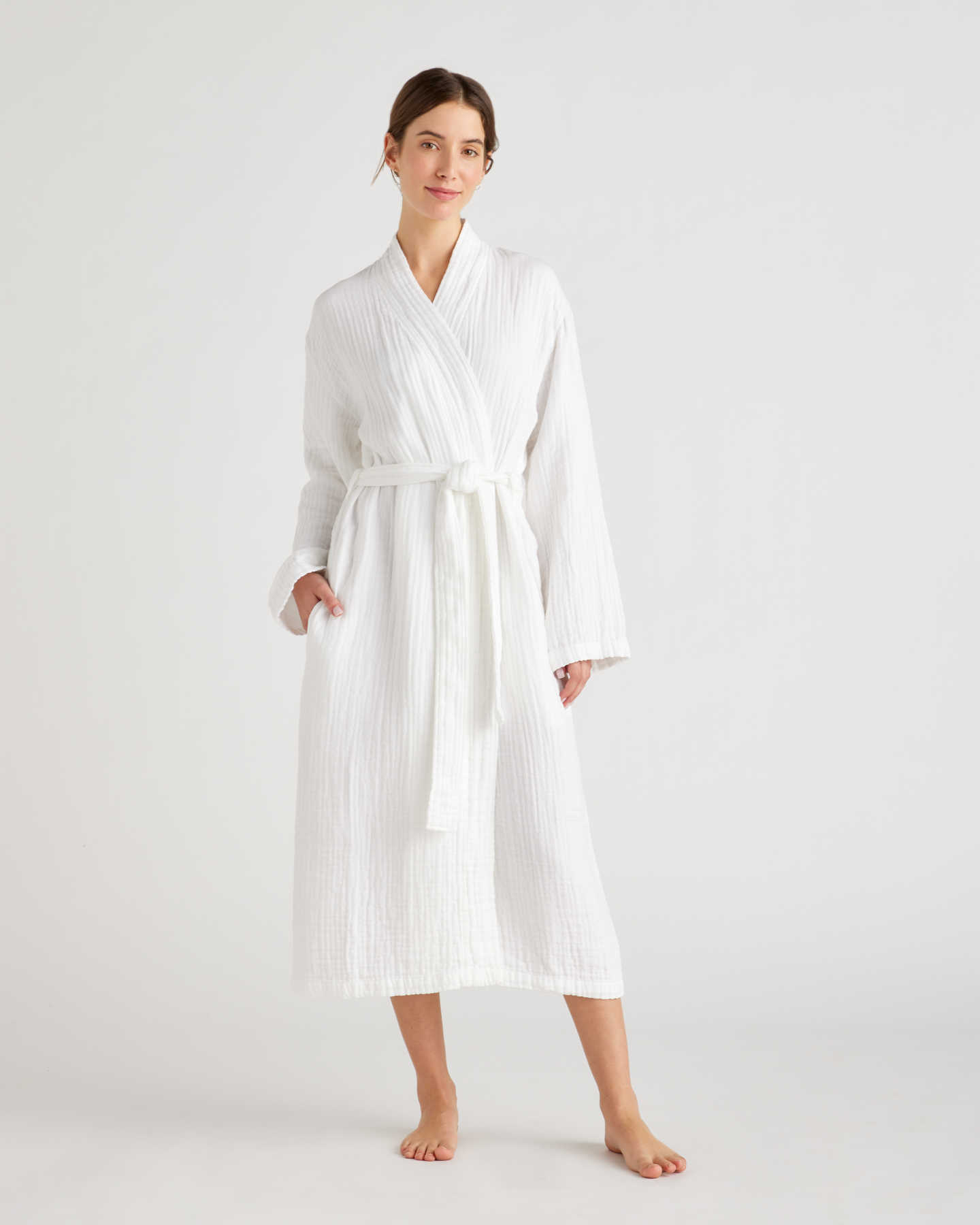 Organic Turkish Cotton Gauze Robe - White