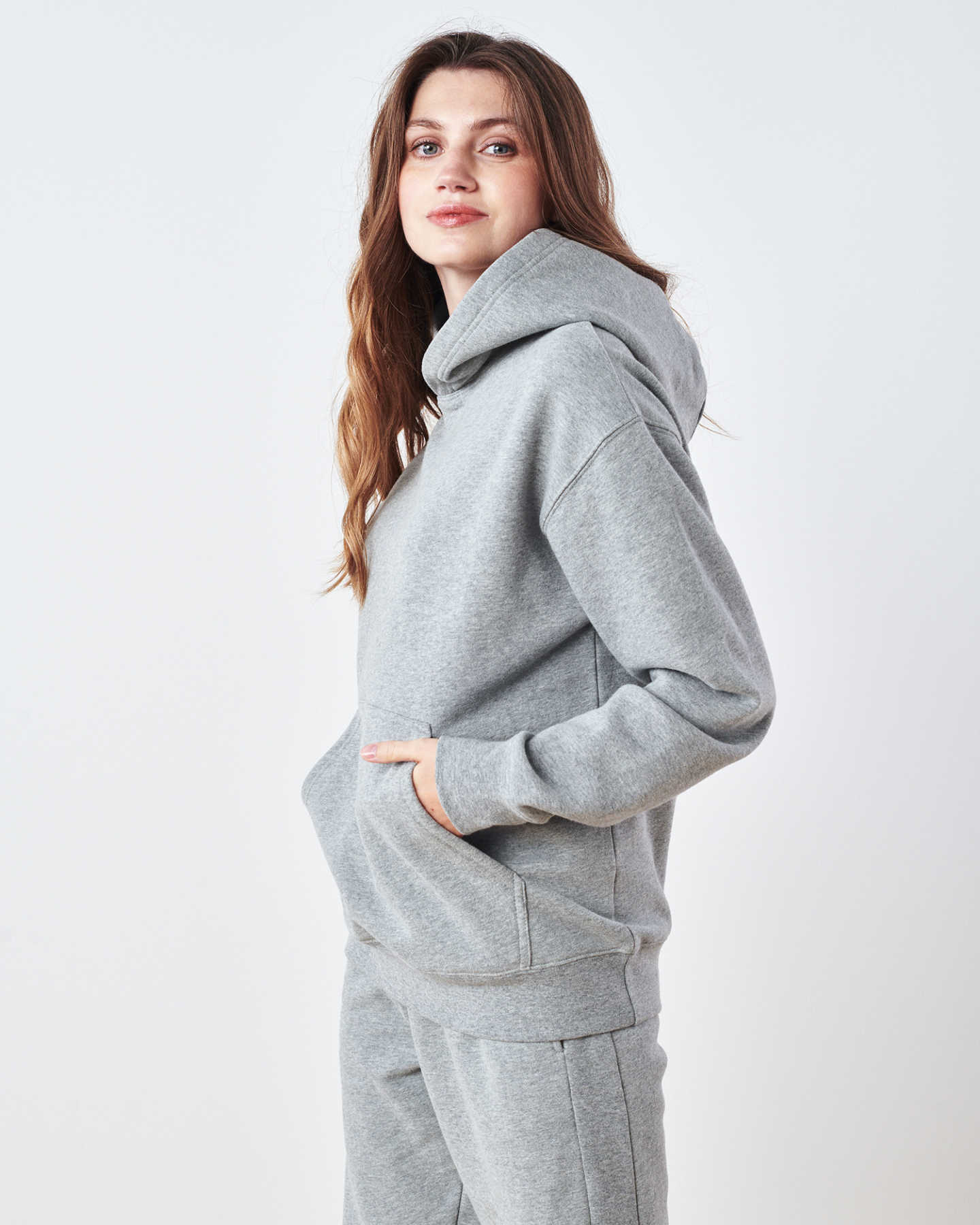 Organic Heavyweight Boyfriend Hoodie - Heather Grey - 3