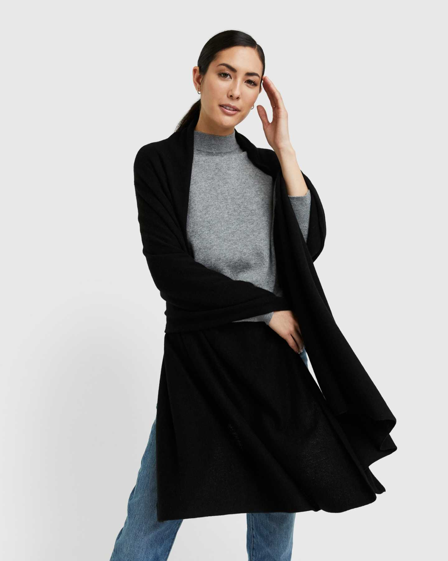 You May Also Like - Mongolian Cashmere Wrap - Black