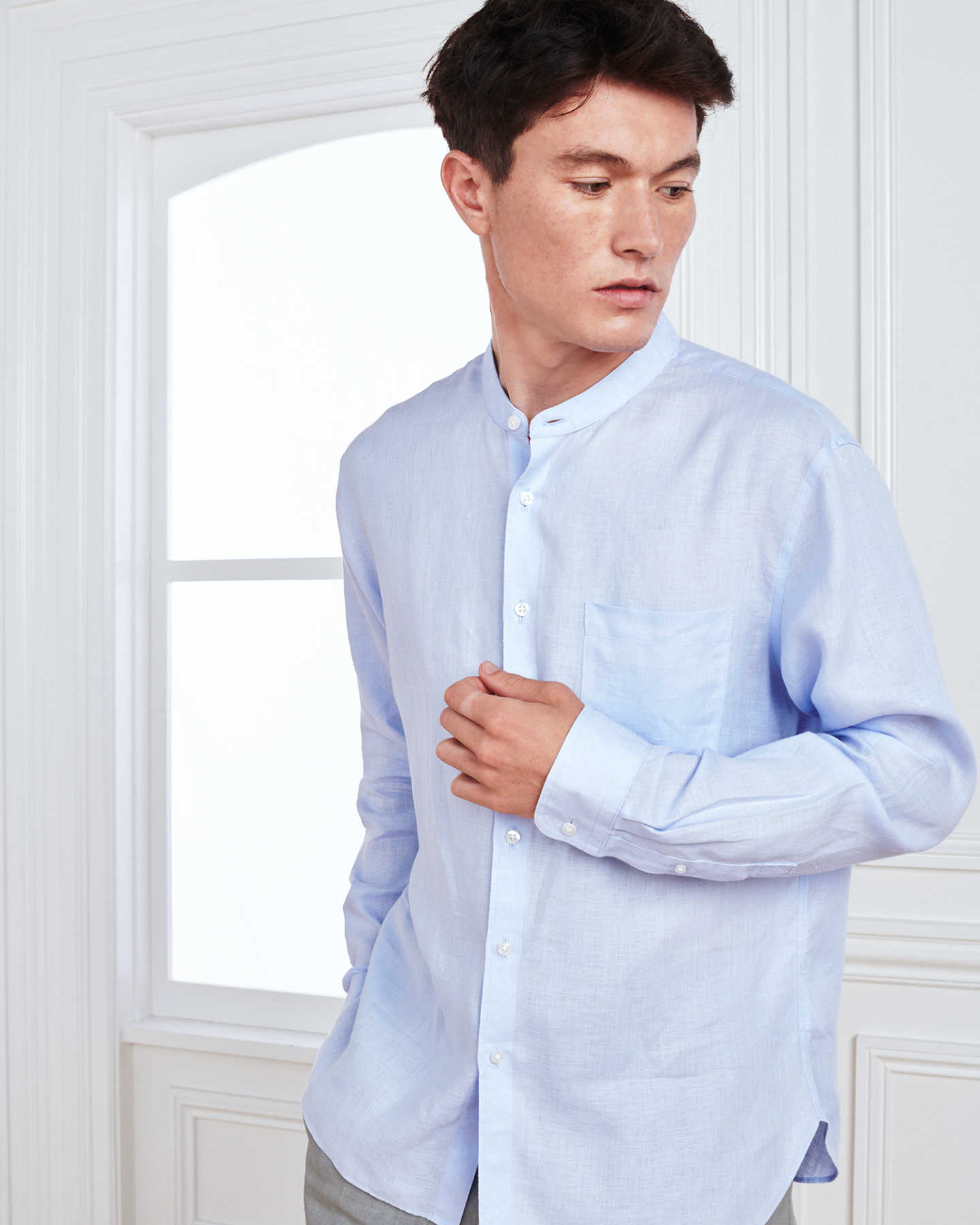 Band Collar Wrinkle-free Linen Shirt - Light Blue - 0