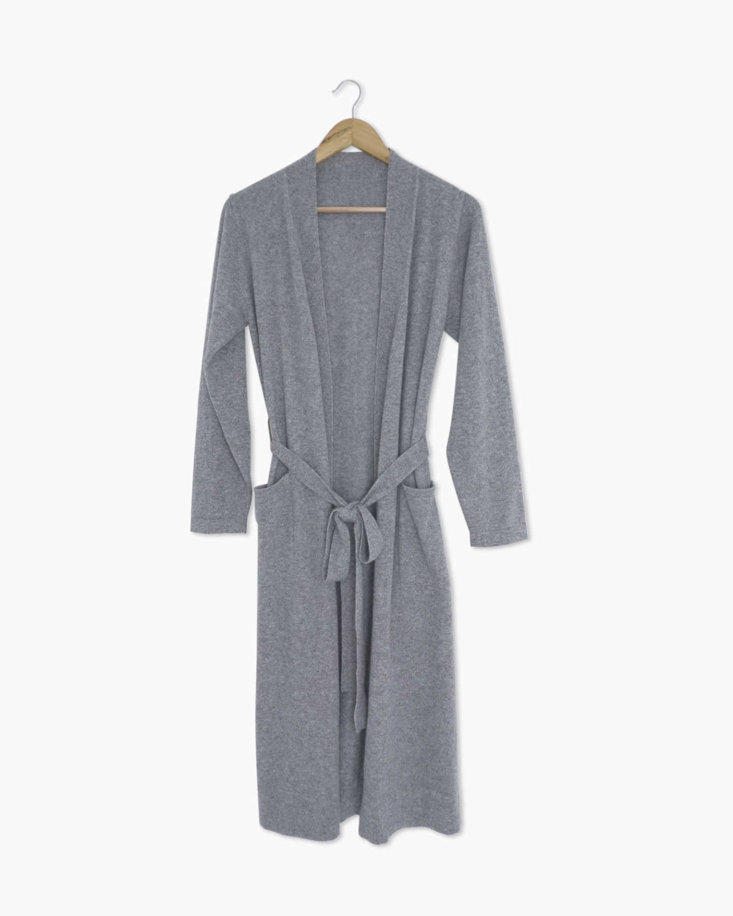 Cashmere robe womens from the front in grey