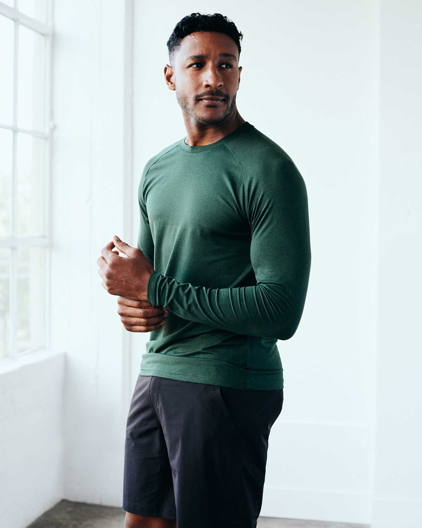 Flowknit Ultra-Soft Performance Long Sleeve Tee - Olive - 3
