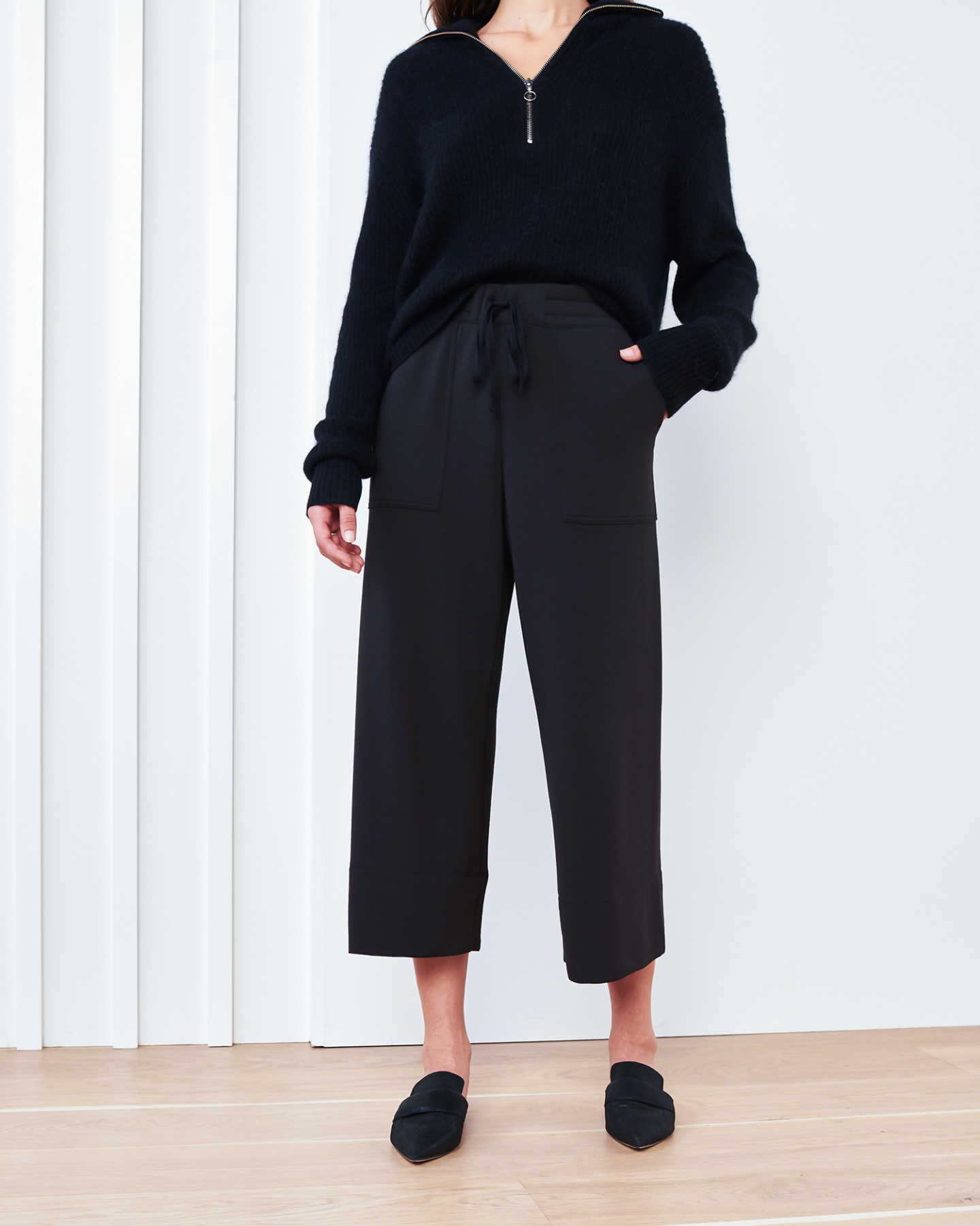 SuperSoft Fleece Wide Leg Pants - Black - 0