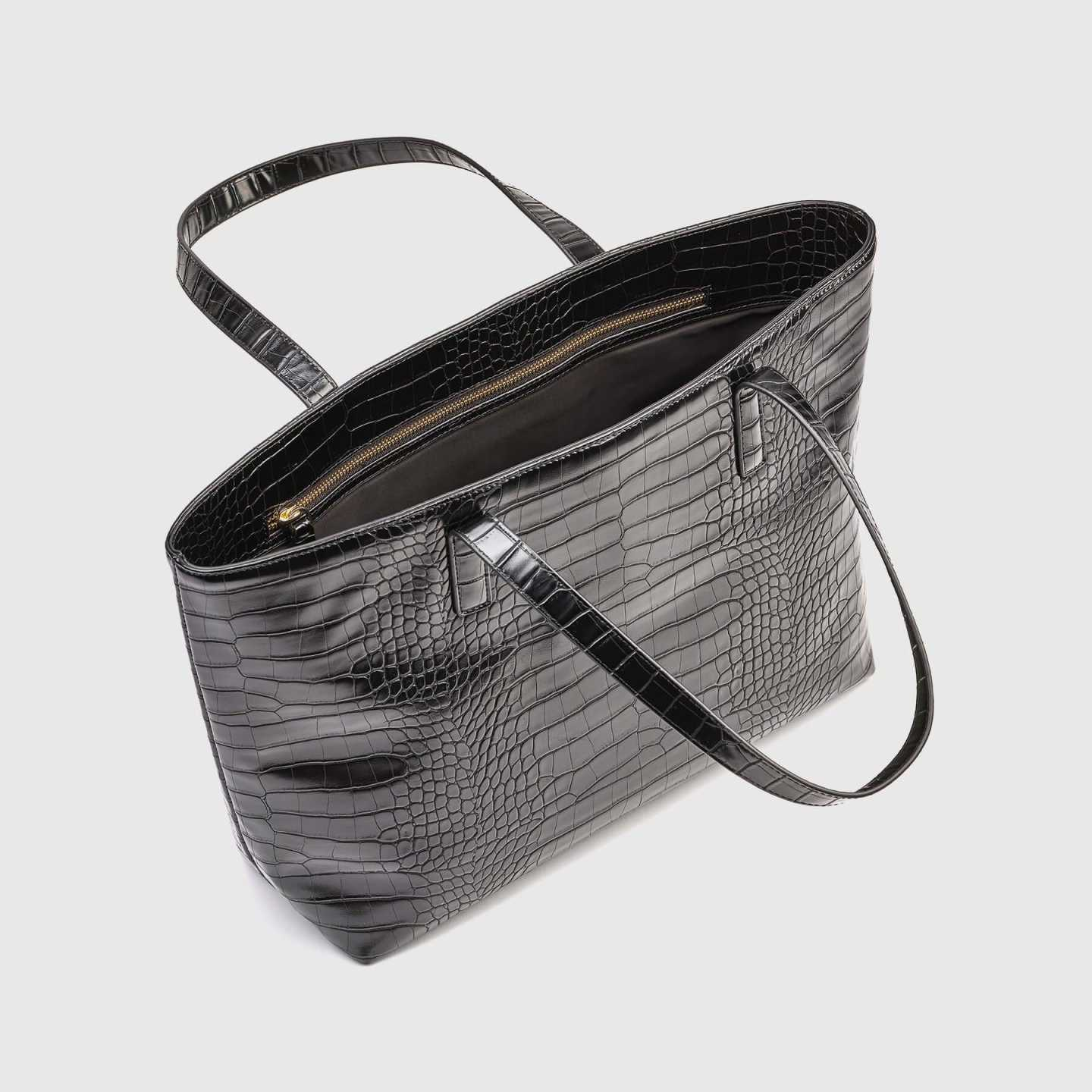 vegan leather bag in black croco from side