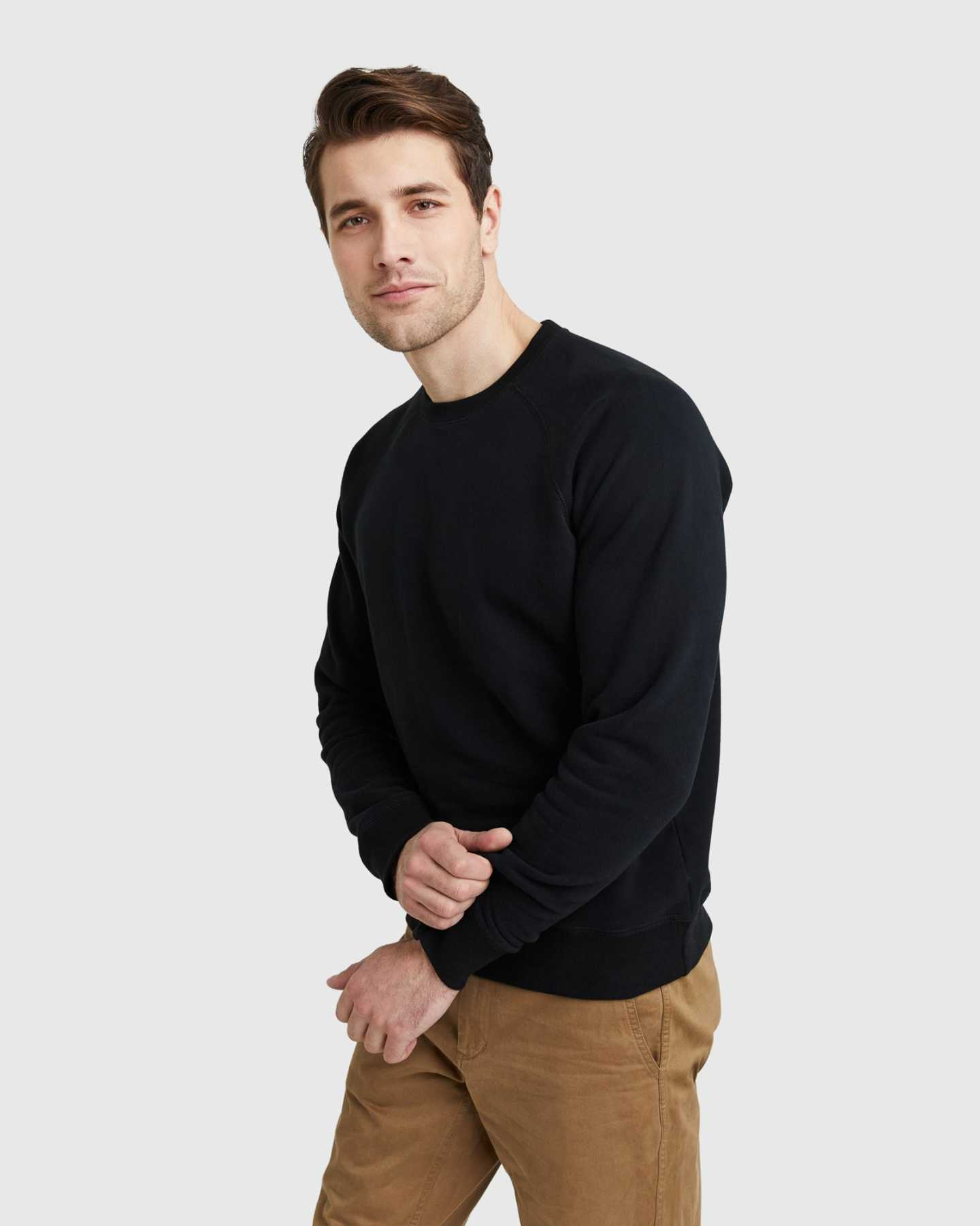 Organic Heavyweight Fleece Crew - Black - 6