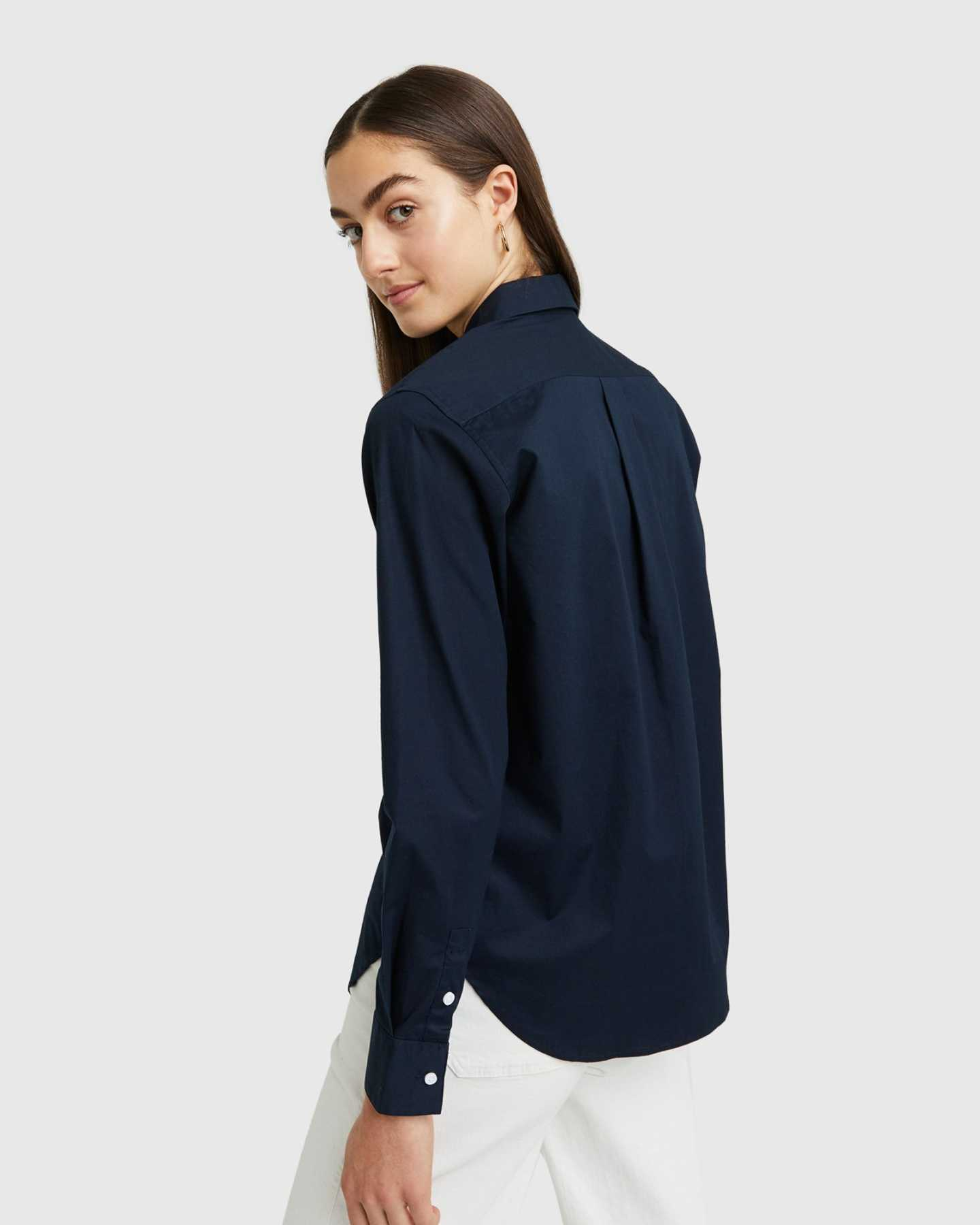 Organic Relaxed Poplin Shirt - Navy - 5