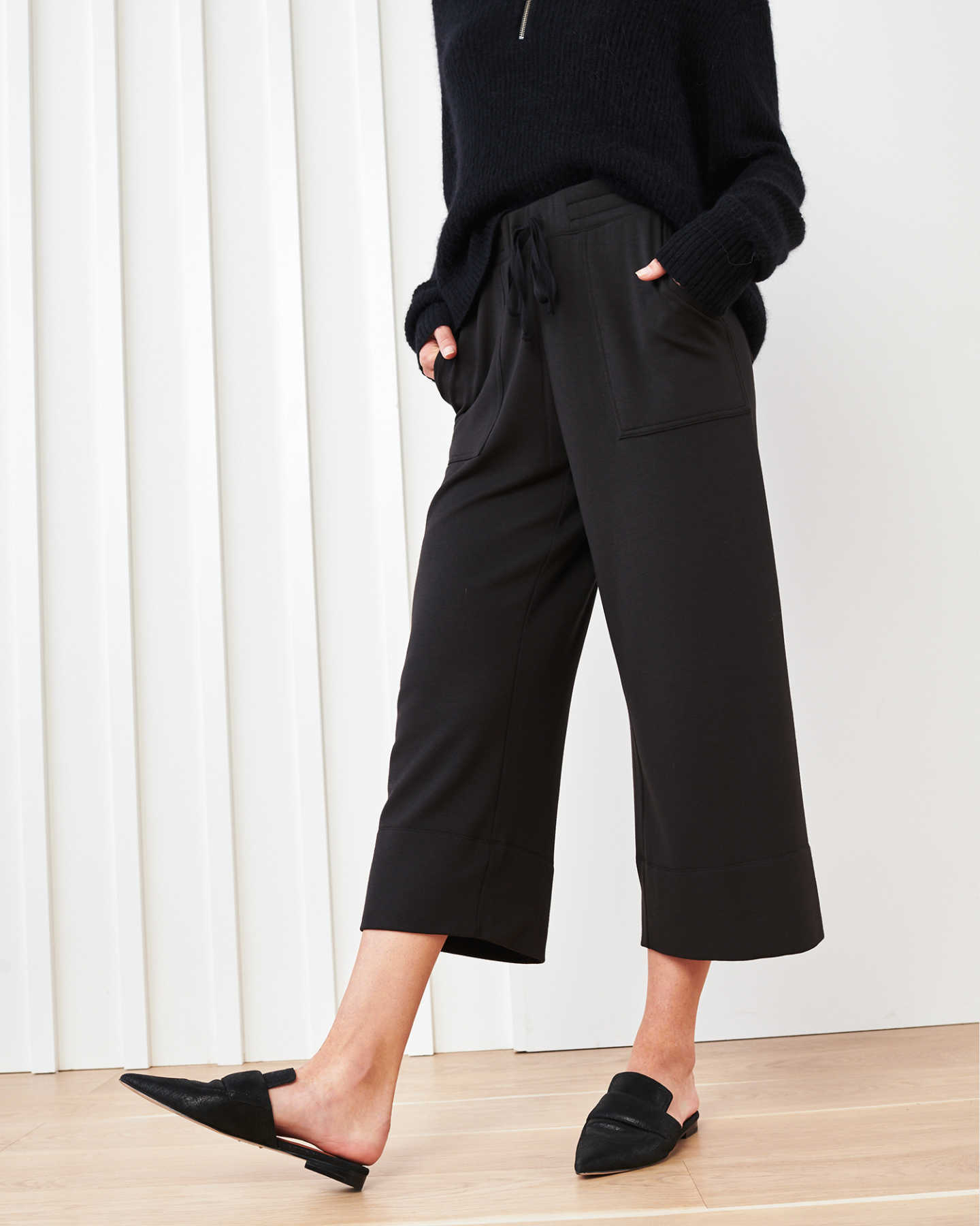 SuperSoft Fleece Wide Leg Pants - Black - 2
