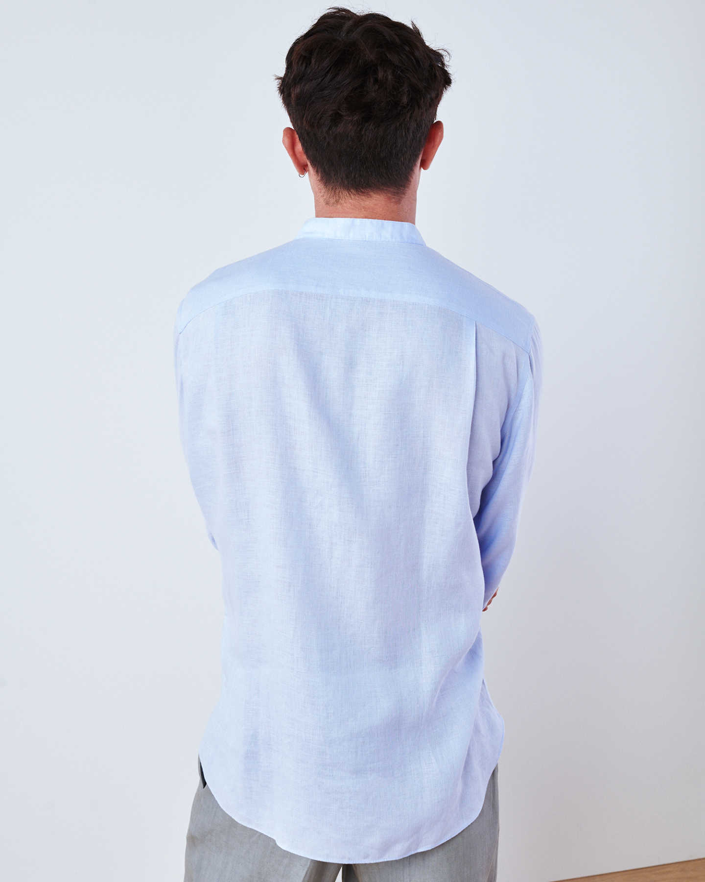 Band Collar Wrinkle-free Linen Shirt - Light Blue - 4
