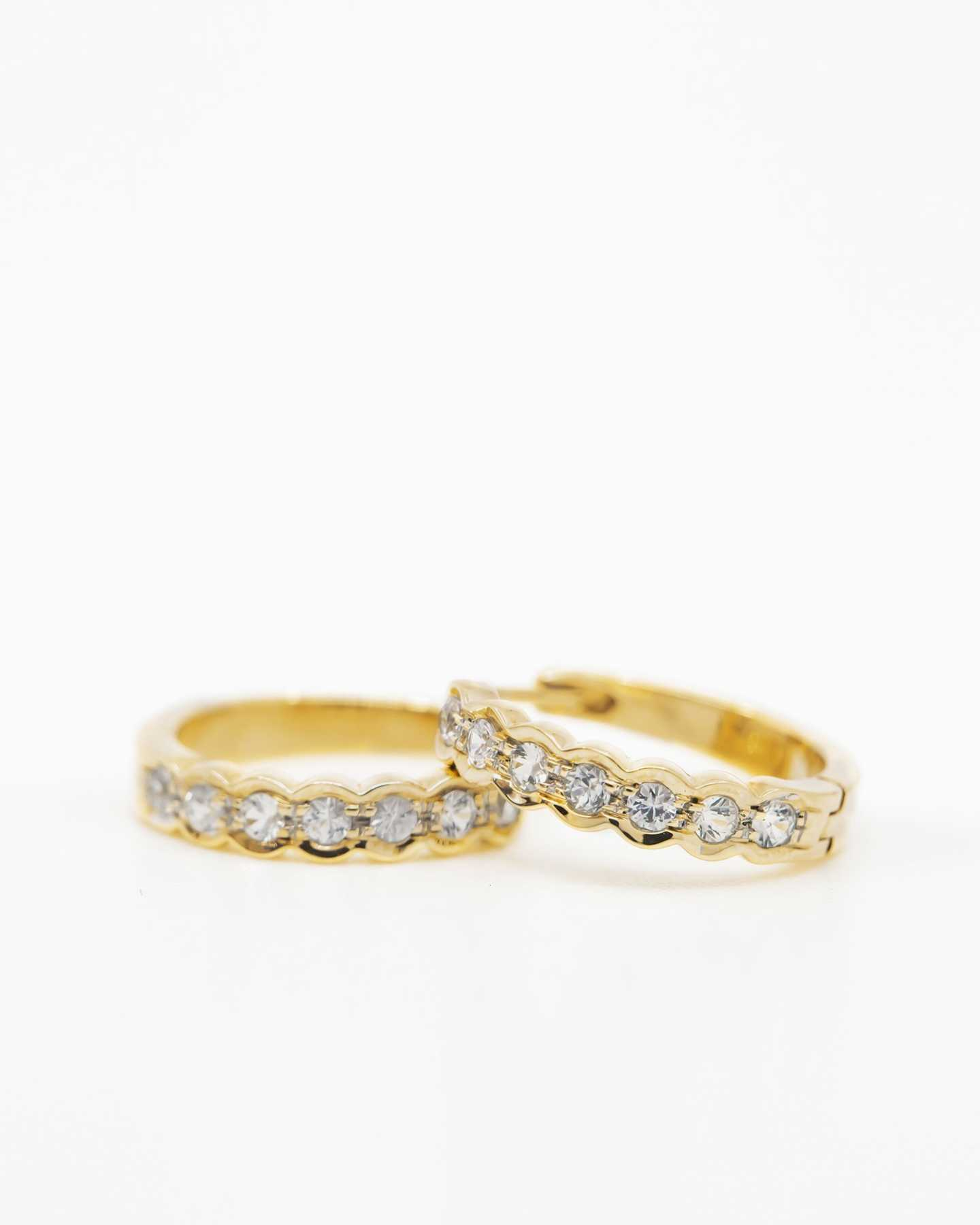 White Sapphire Huggie Earrings - Gold Vermeil - 0