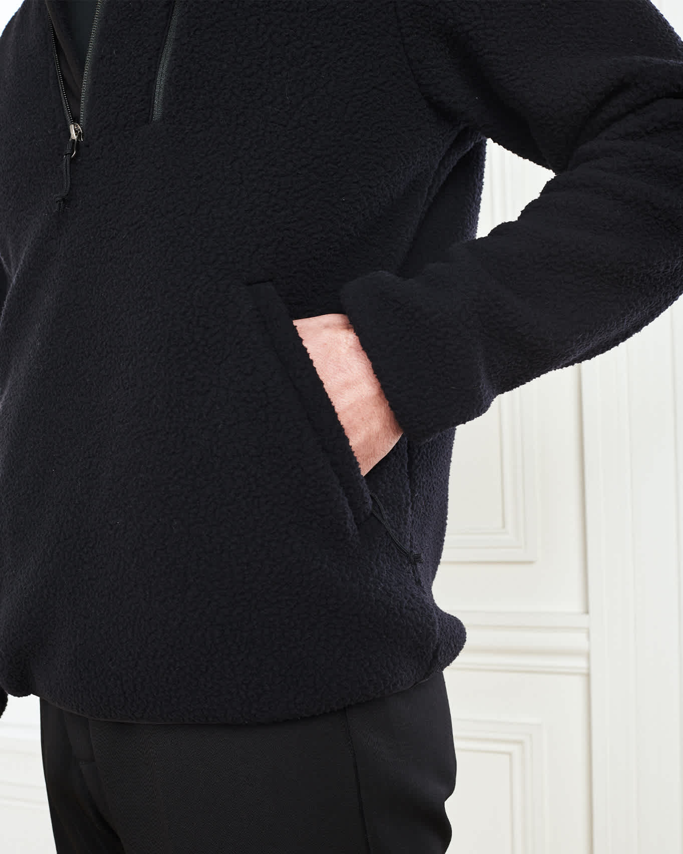 Recycled Sherpa Fleece Pullover Jacket - Black - 4