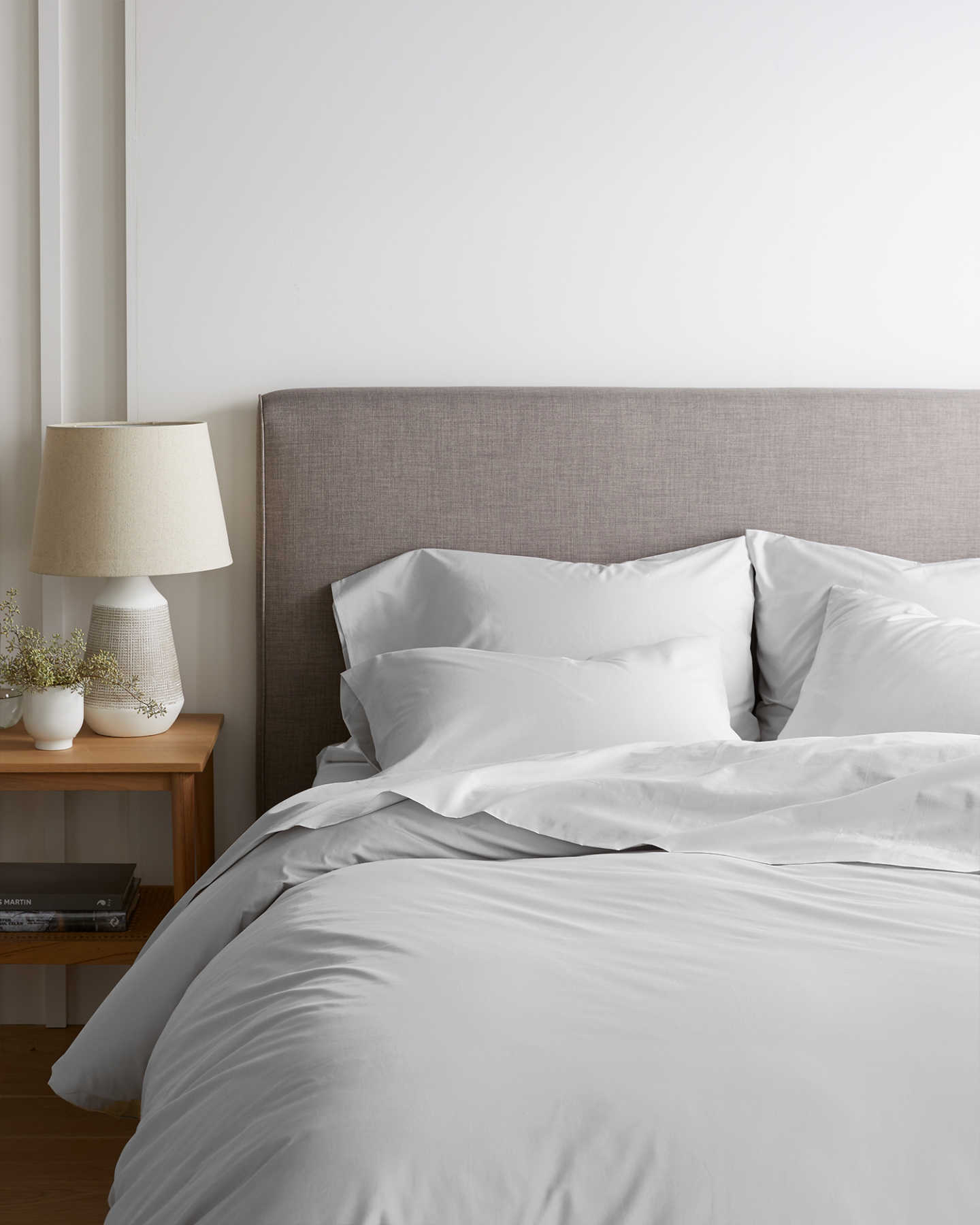 Organic Percale Luxe Duvet Cover Set - Light Grey - 0