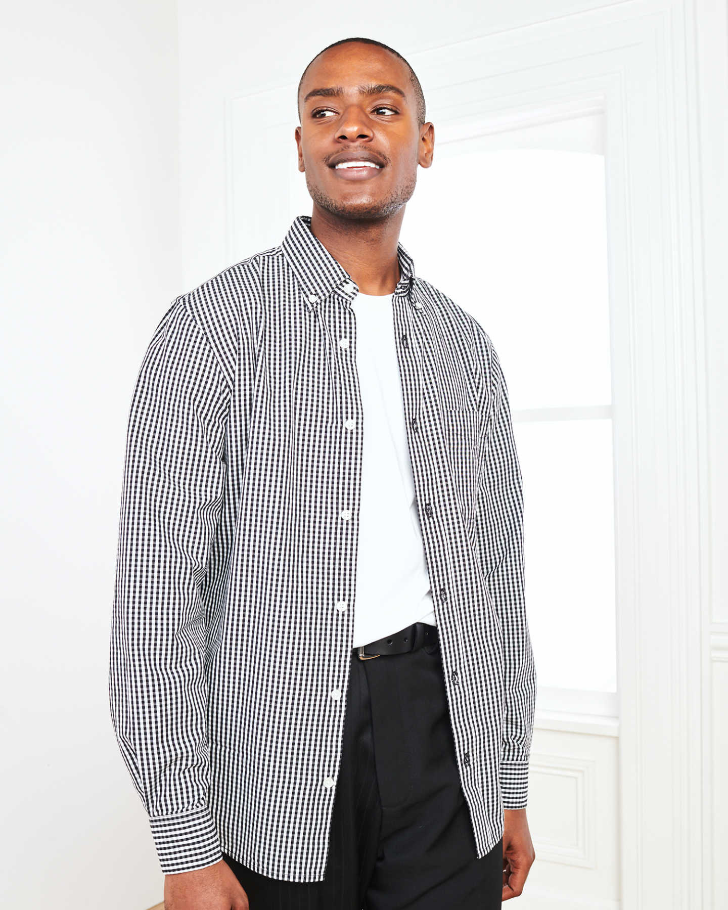 Carbon Wash Gingham Shirt - Black/White - 1