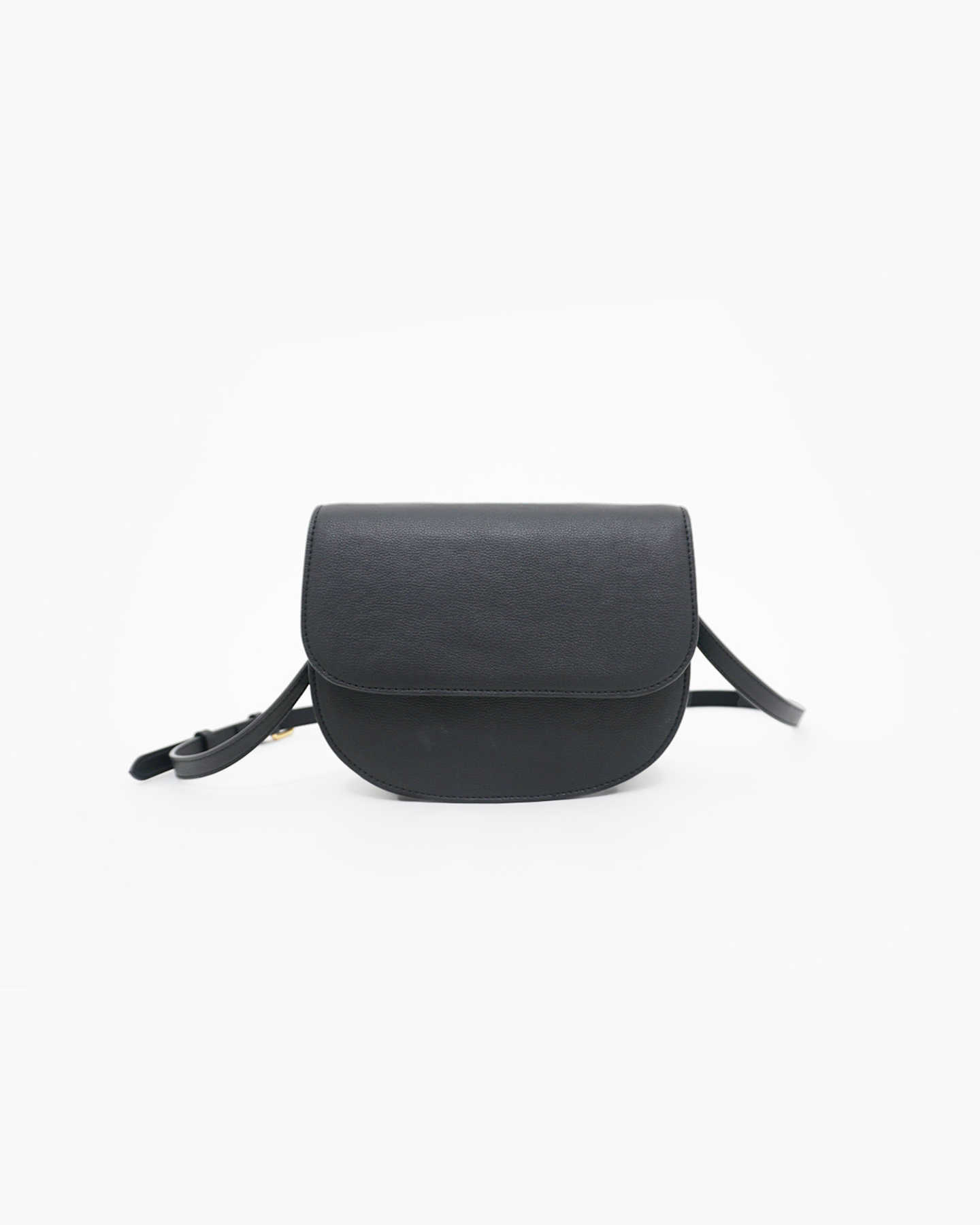 Vegan Saddle Bag - Black - 8
