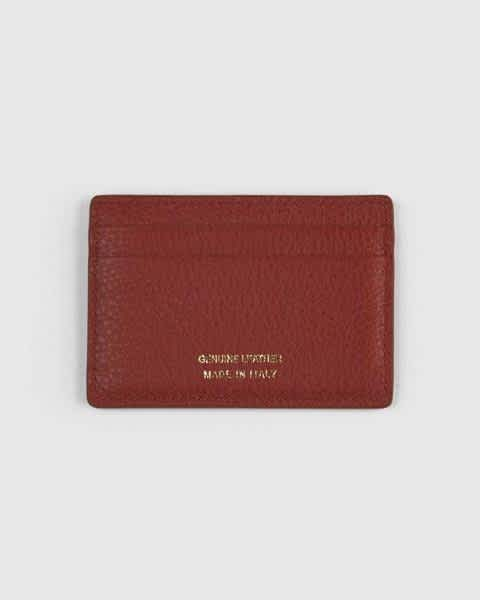Italian Leather Card Case - Red Pebbled