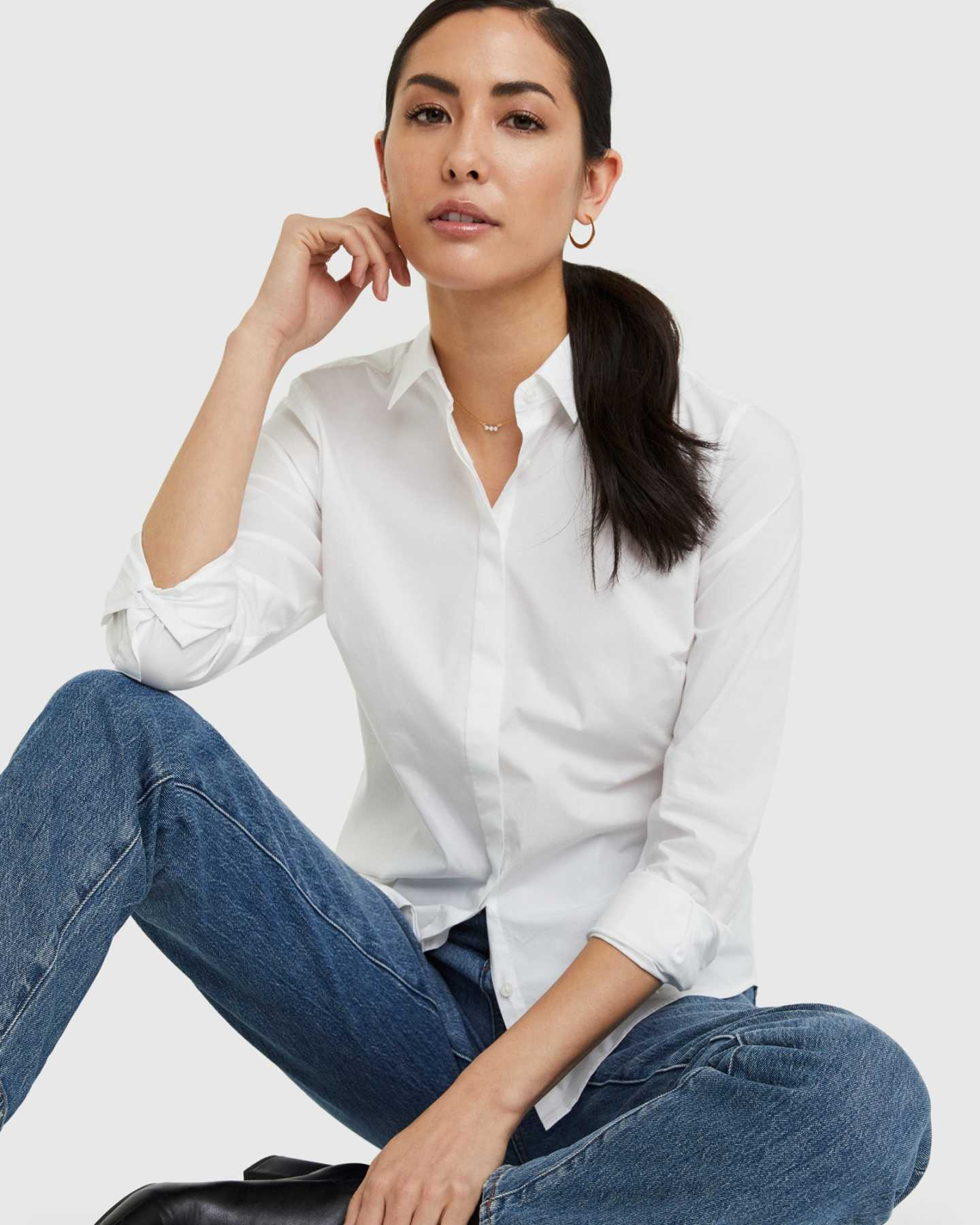 Organic Cotton Stretch Poplin Shirt - 13587171967087