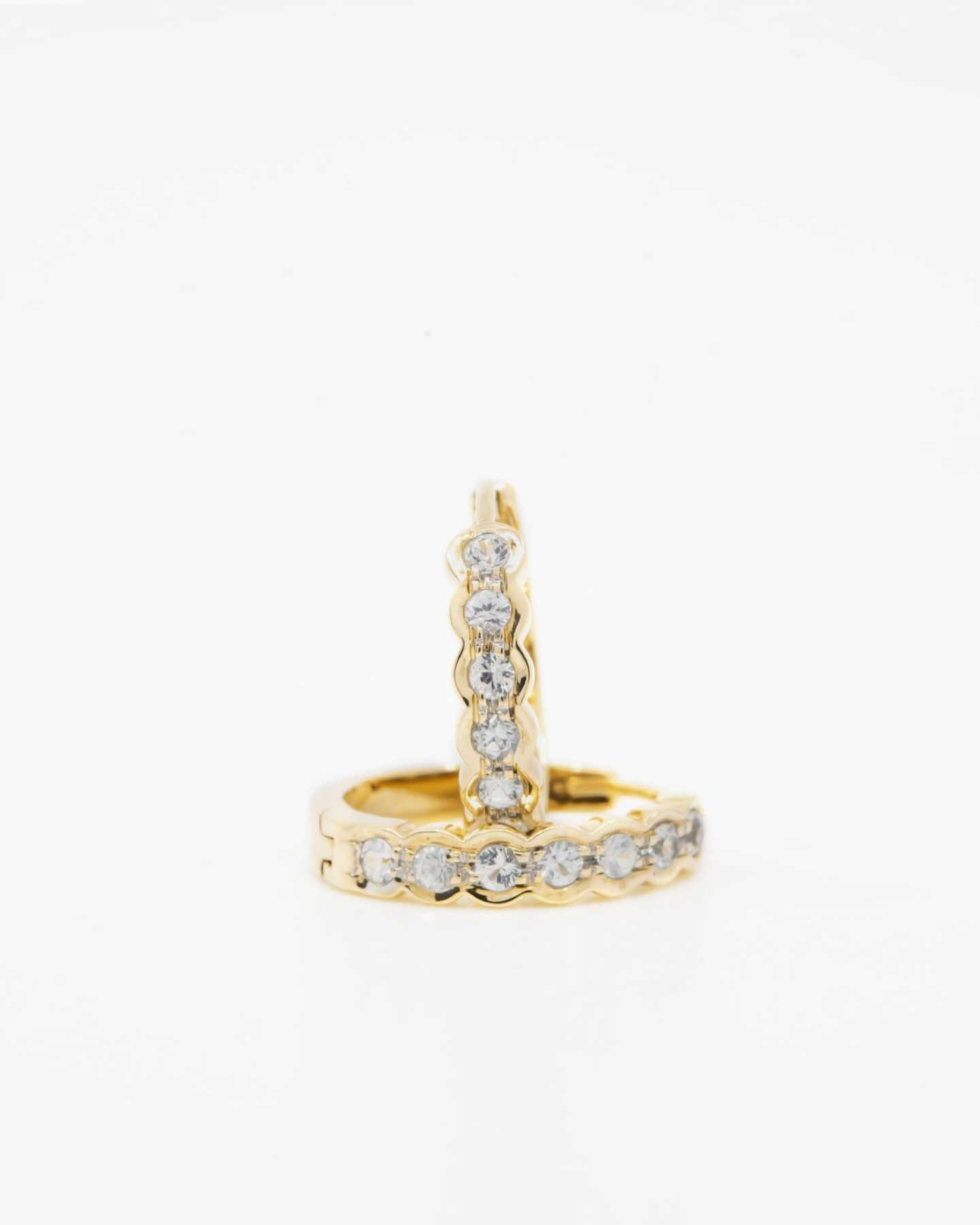 White Sapphire Huggie Earrings - Gold Vermeil - 1 - Thumbnail