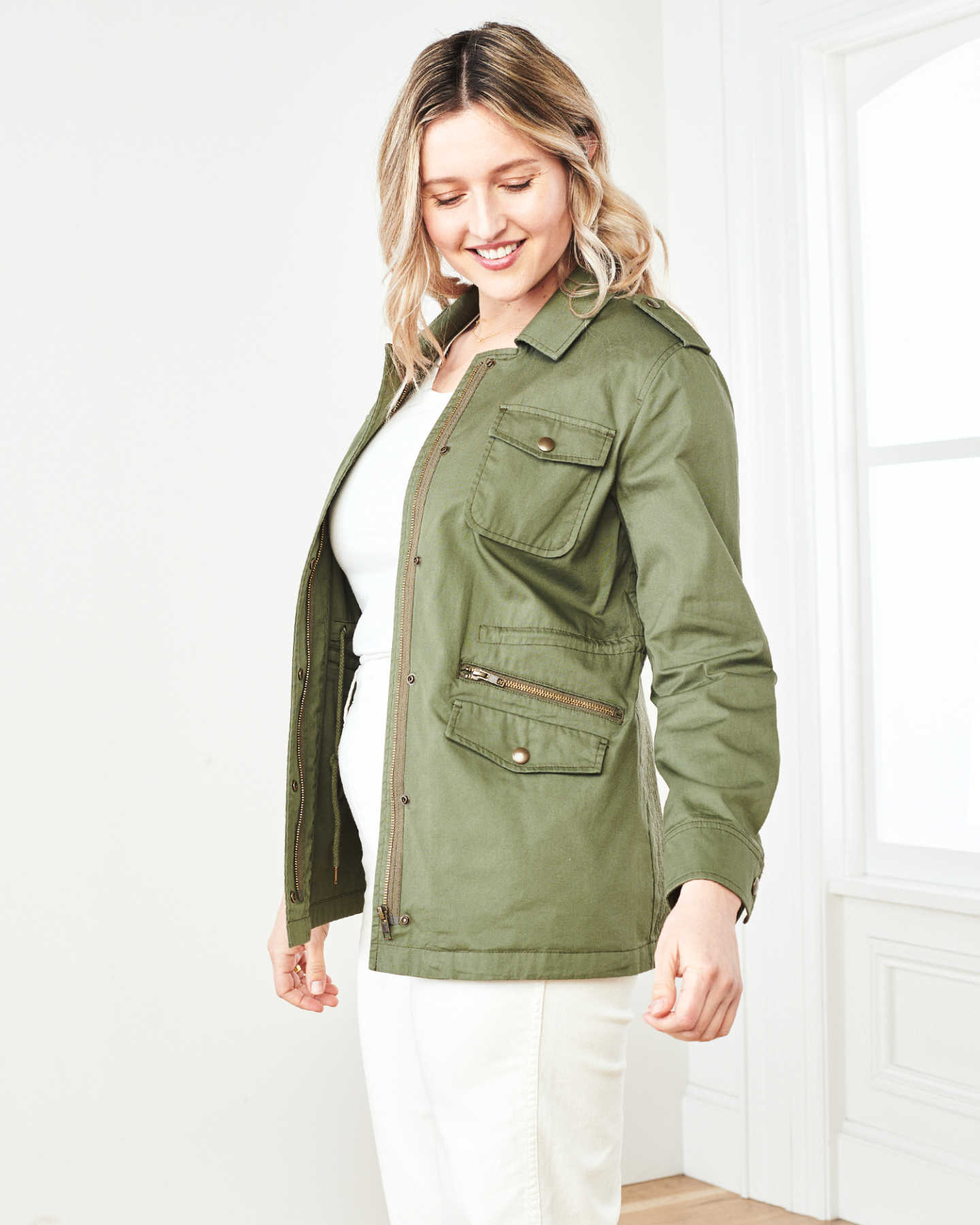 Cotton Twill Utility Jacket - Olive - 1