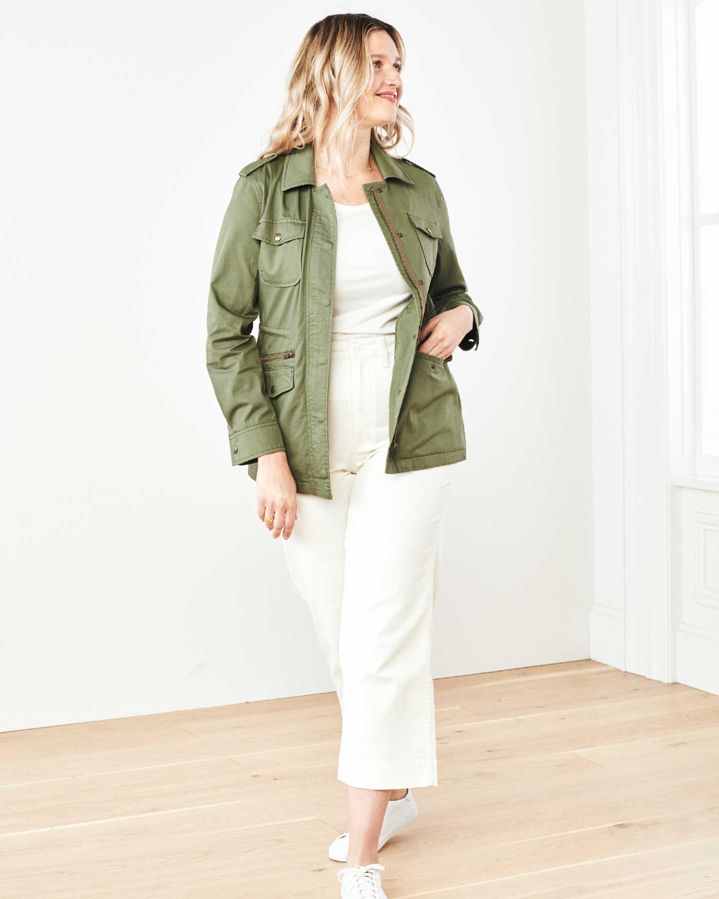 Cotton Twill Utility Jacket - Olive - 6
