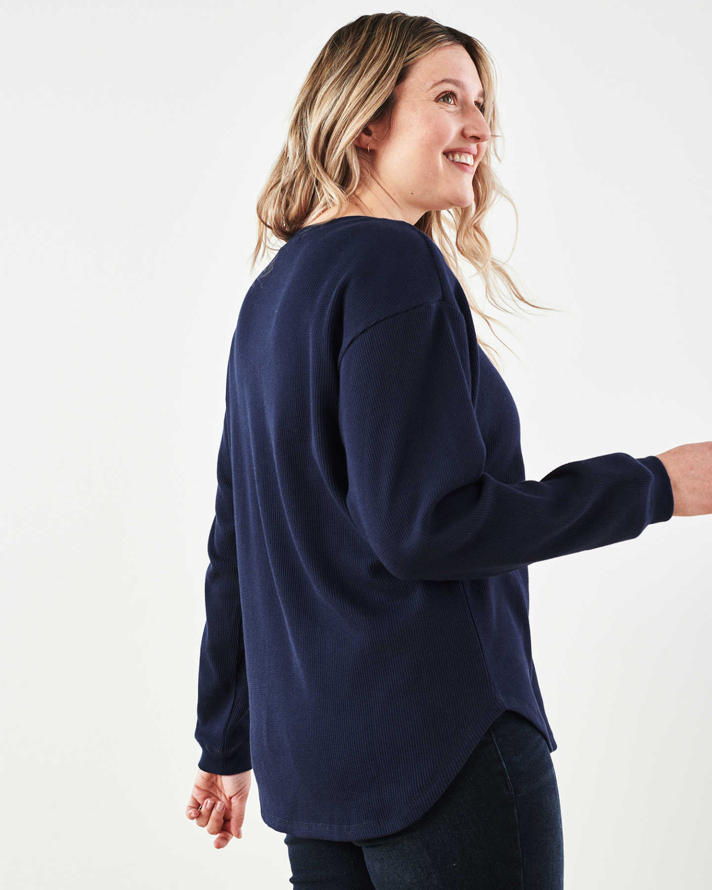 Luxe Organic Waffle Thermal Crew - Navy - 4