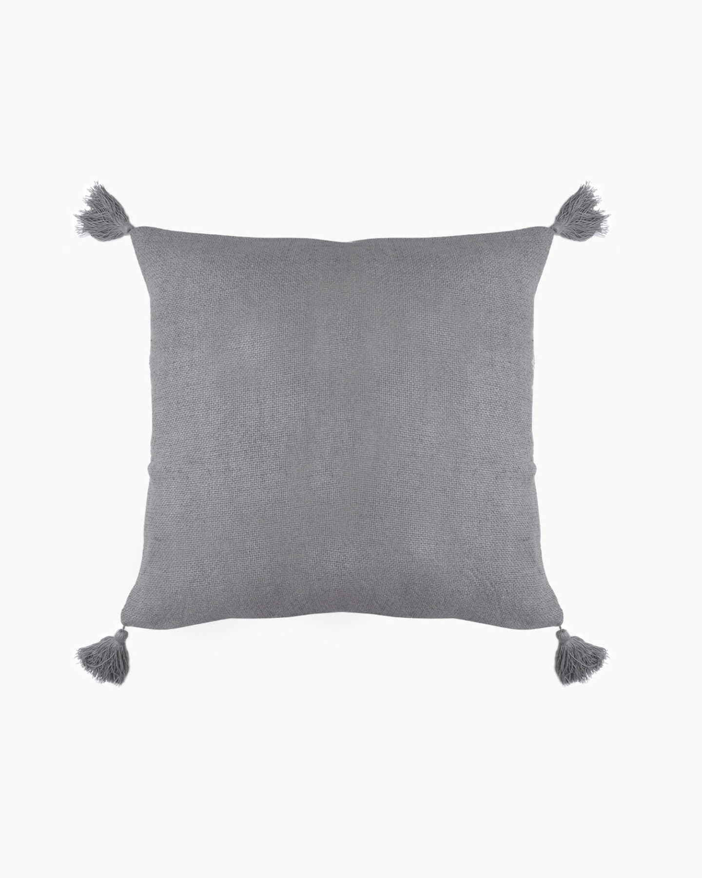 Linen Tassel Pillow Cover - Grey - 0
