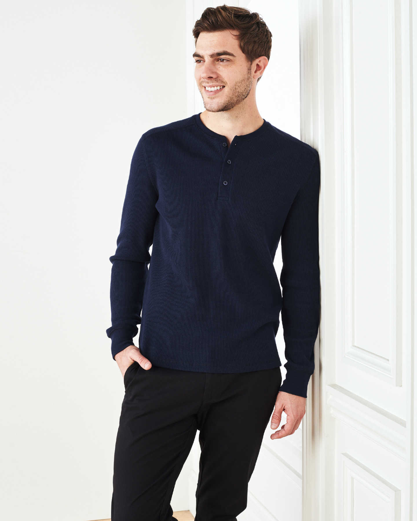 Luxe Organic Waffle Thermal Henley - Navy - 6