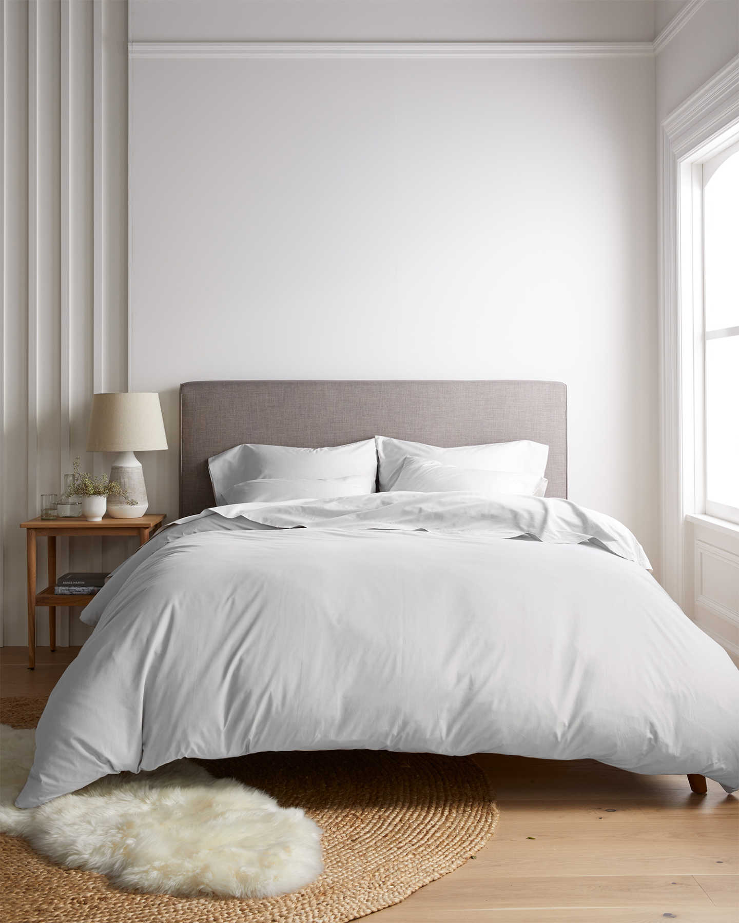 Organic Percale Luxe Duvet Cover Set - Light Grey - 1