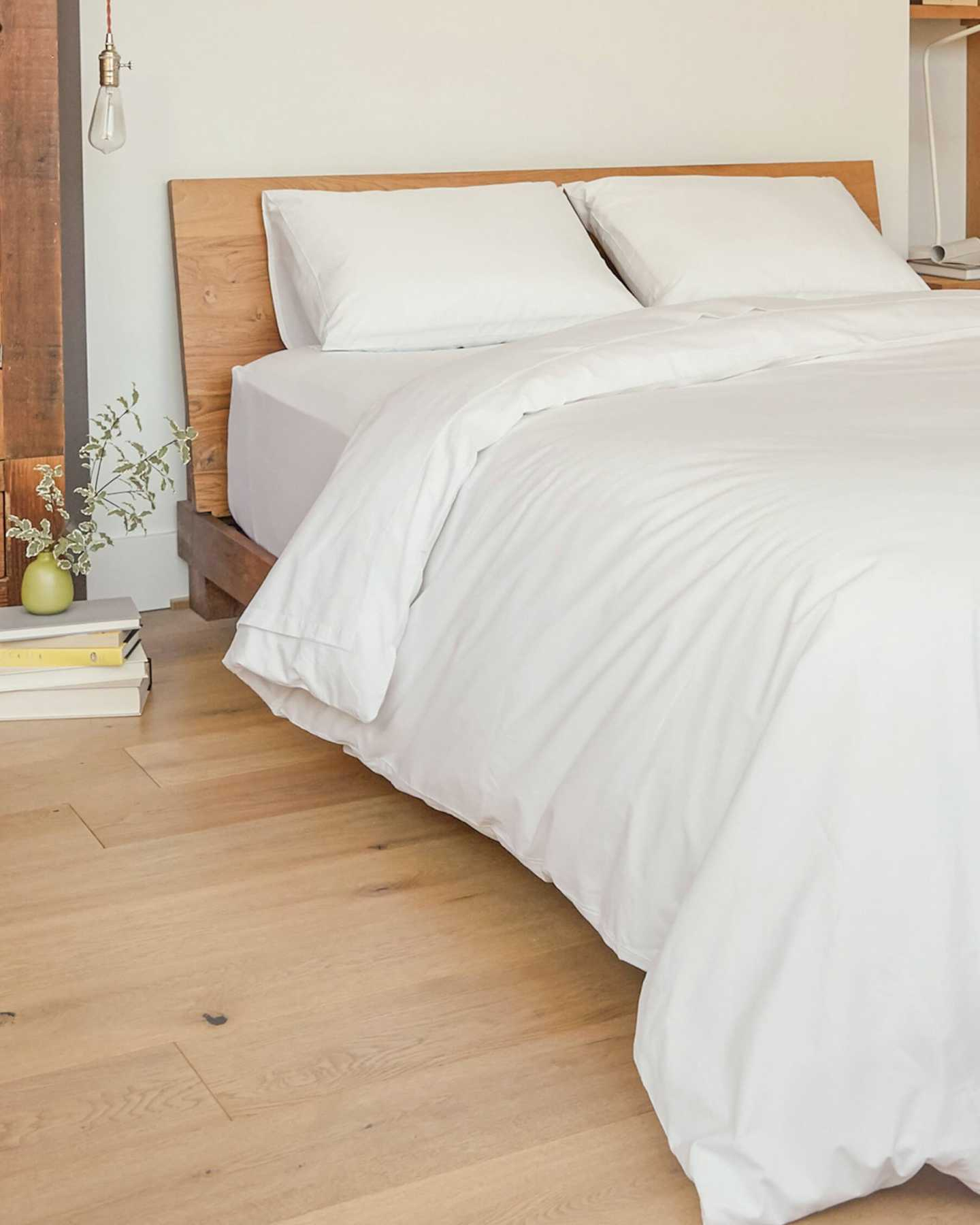 Organic Percale Luxe Duvet Cover - White - 3