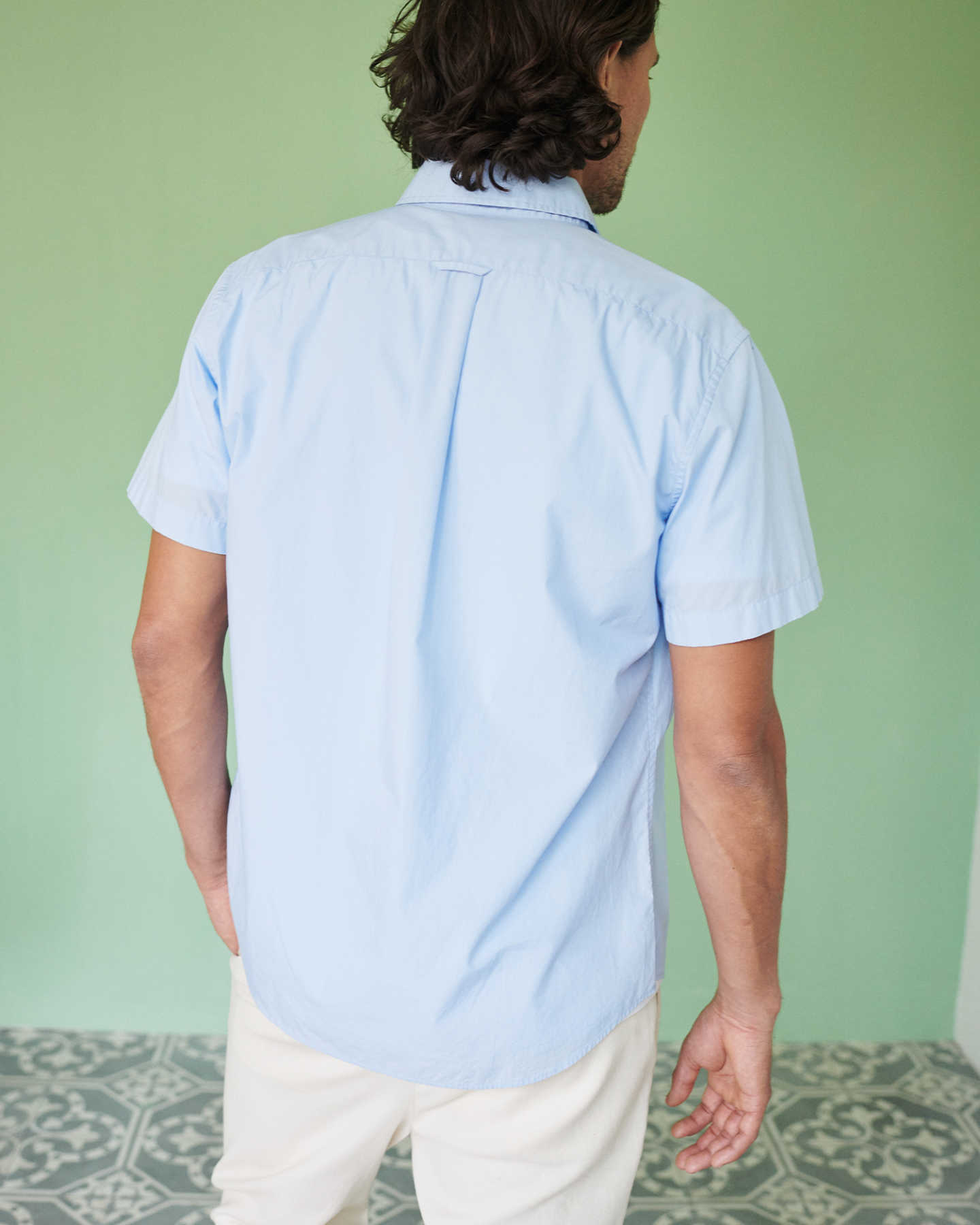 Organic Short Sleeve Stretch Poplin Shirt - Light Blue - 4