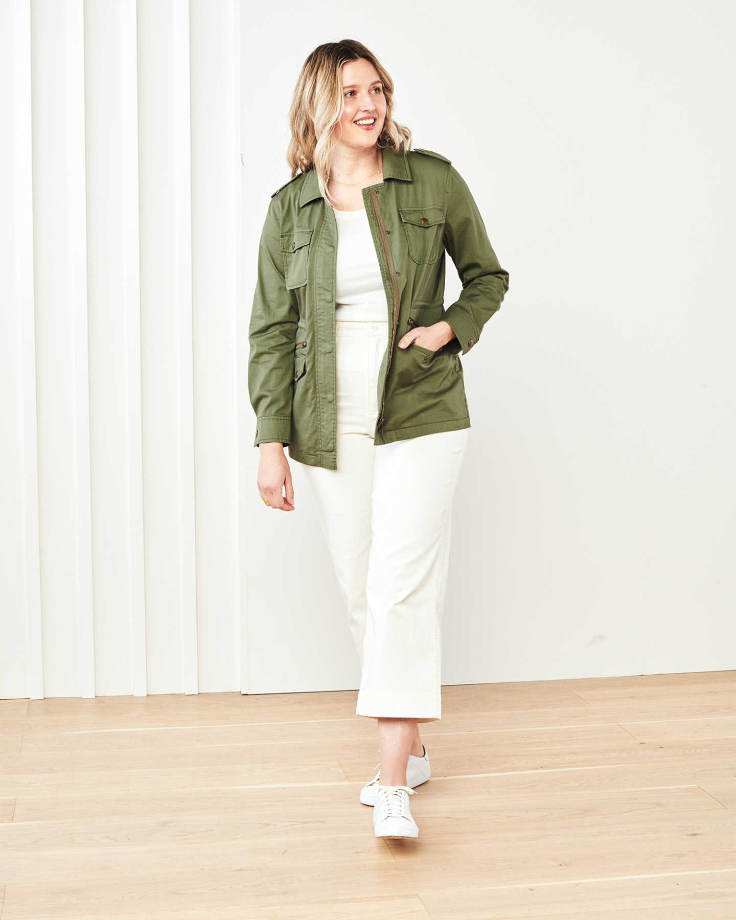 Cotton Twill Utility Jacket - Olive